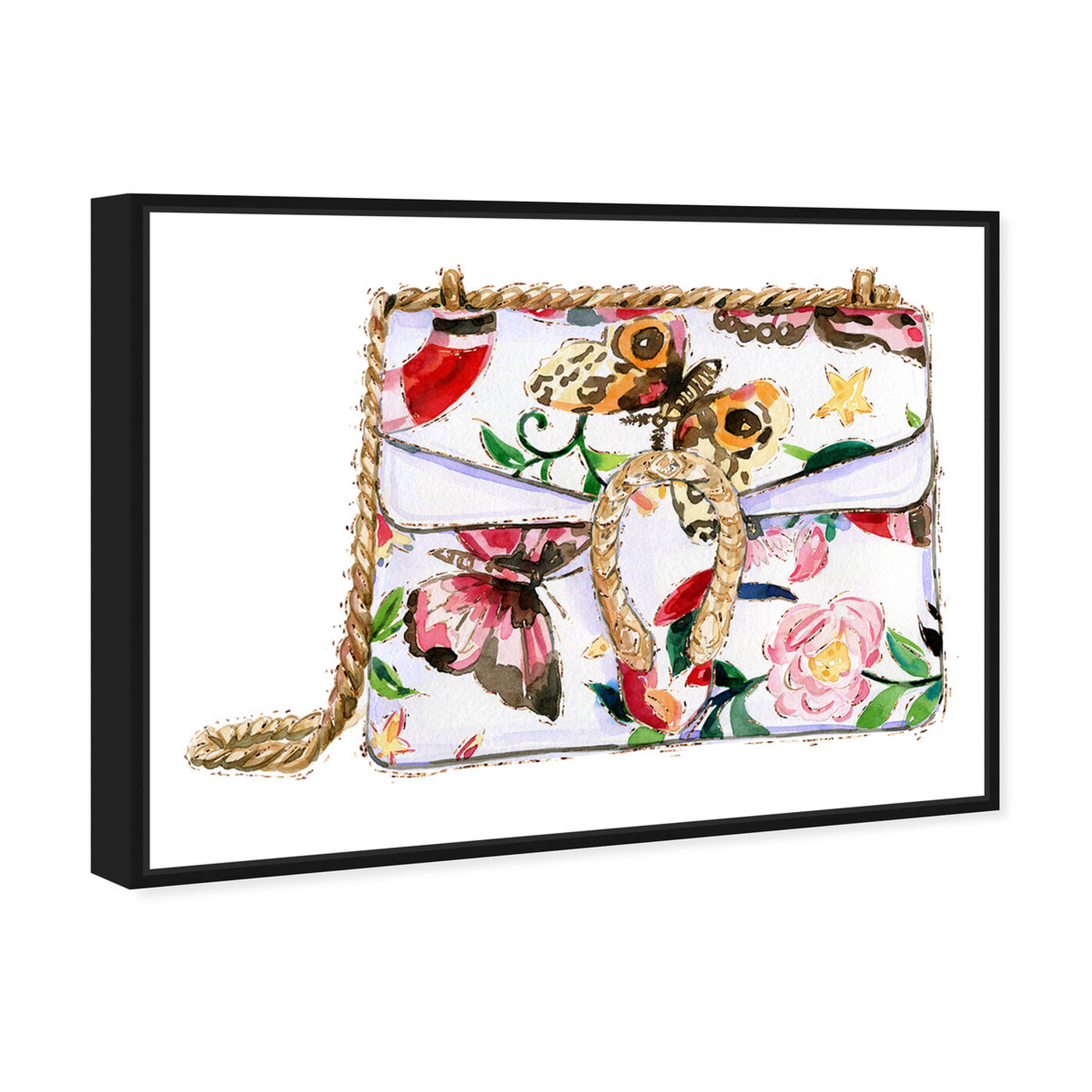 Angled view of Butterfly Floral Bag featuring fashion and glam and handbags art.
