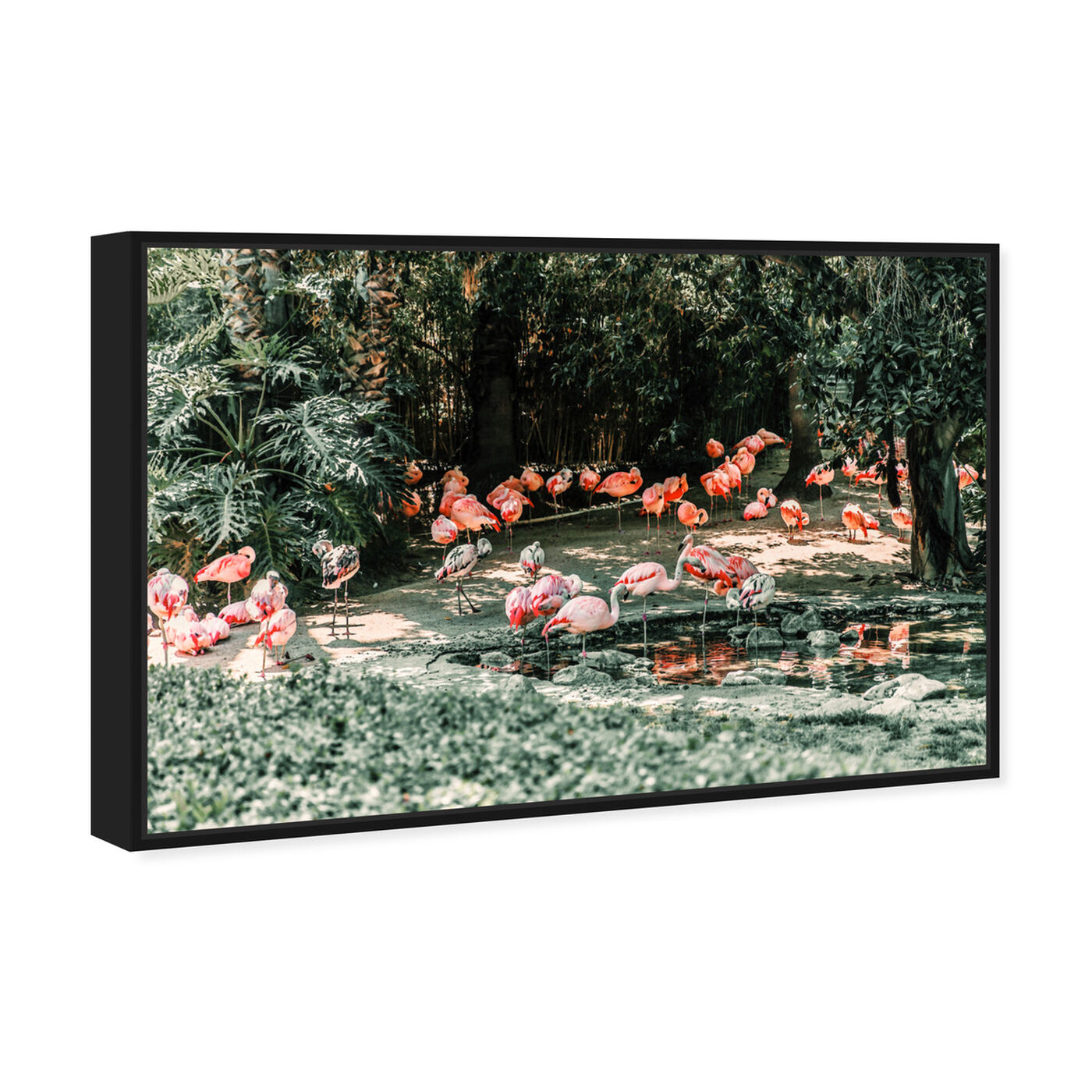 Angled view of Flamingo Gathering featuring animals and birds art.