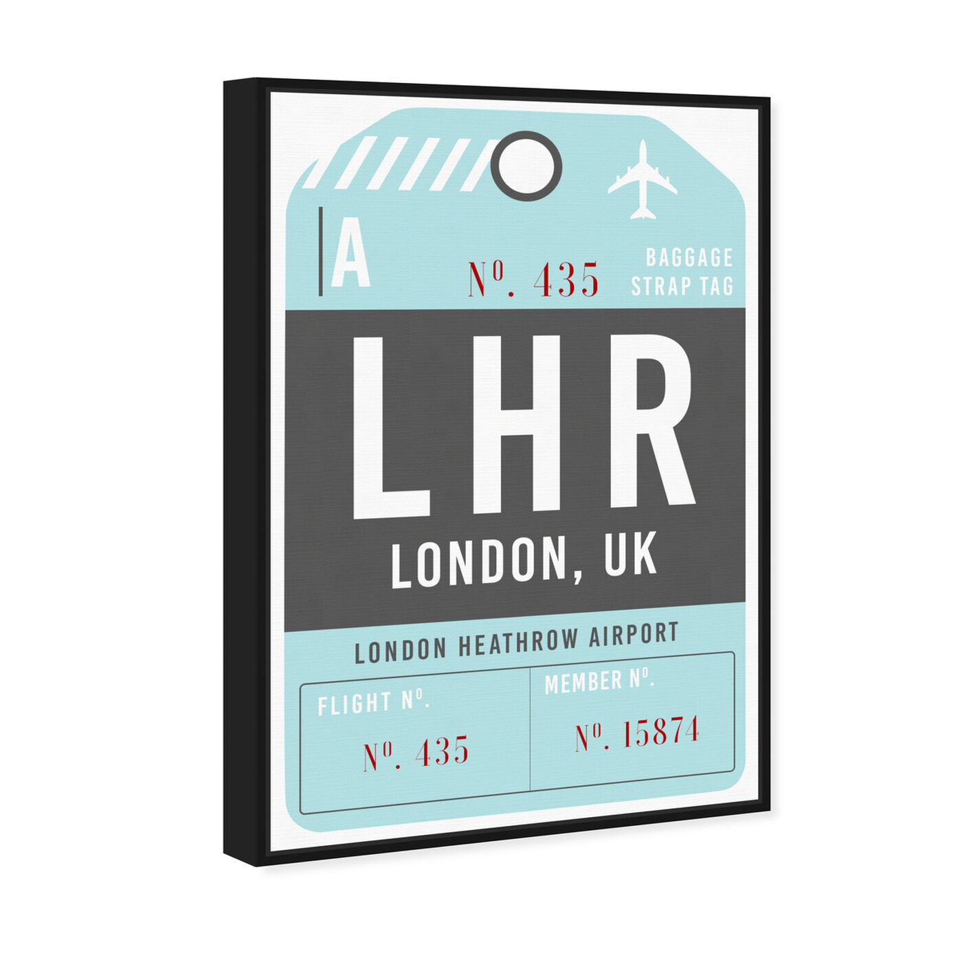 Angled view of London Luggage Tag featuring cities and skylines and european cities art.