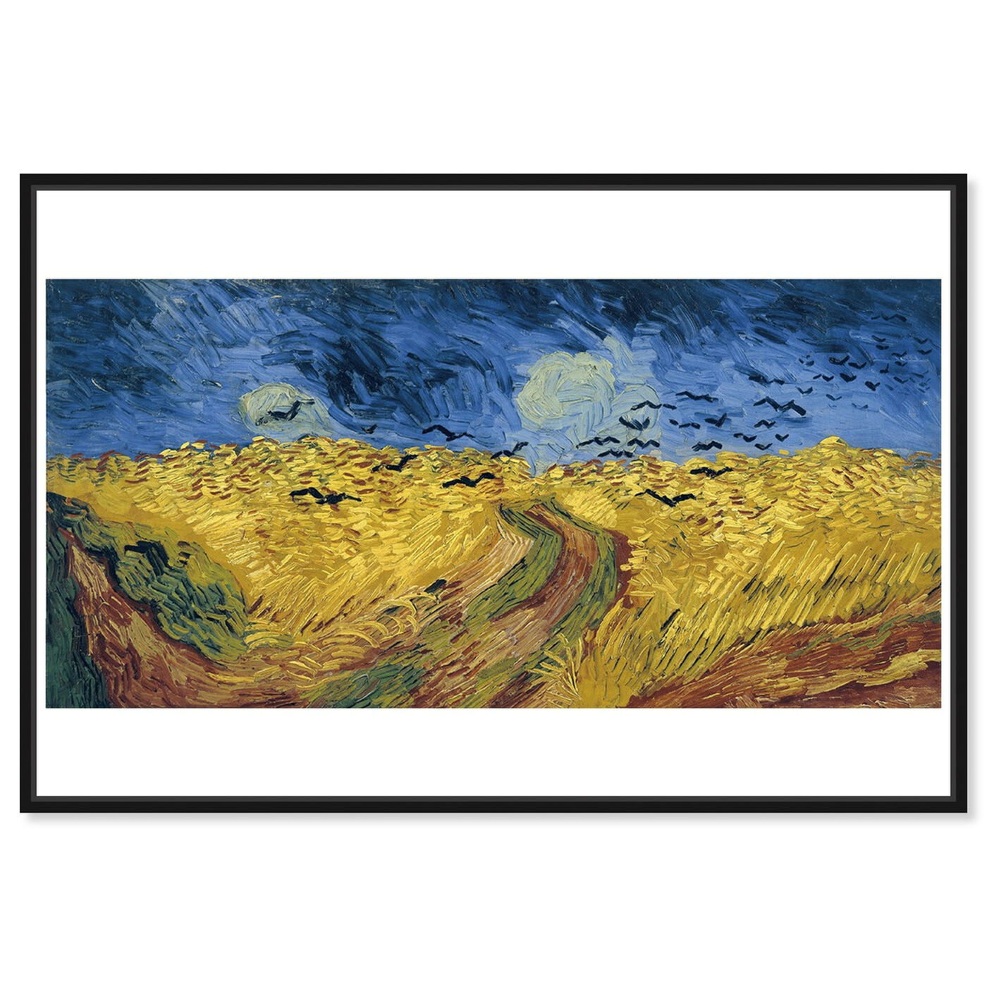 Front view of Van Gogh - Wheatfield with Crows featuring classic and figurative and impressionism art.