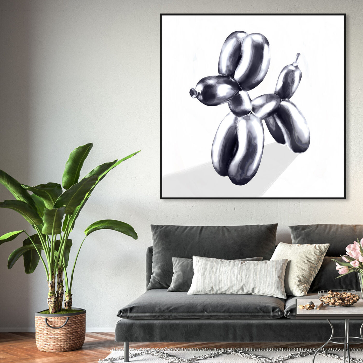 Hanging view of balloon dog featuring animals and dogs and puppies art.