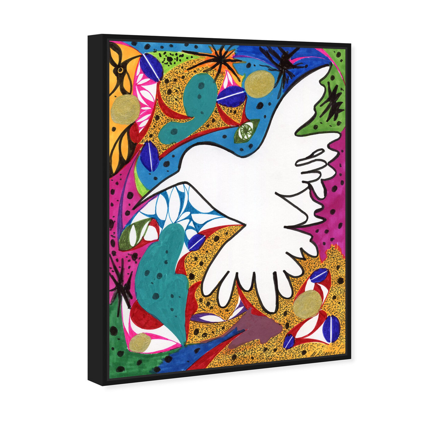 Angled view of Hummingbird of Peace featuring abstract and shapes art.
