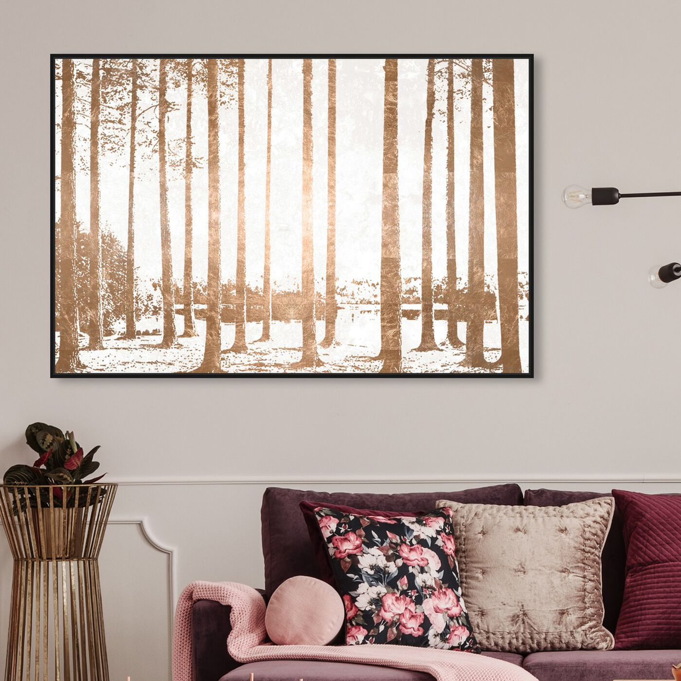 Hanging view of Found in the Woods Copper featuring nature and landscape and forest landscapes art.