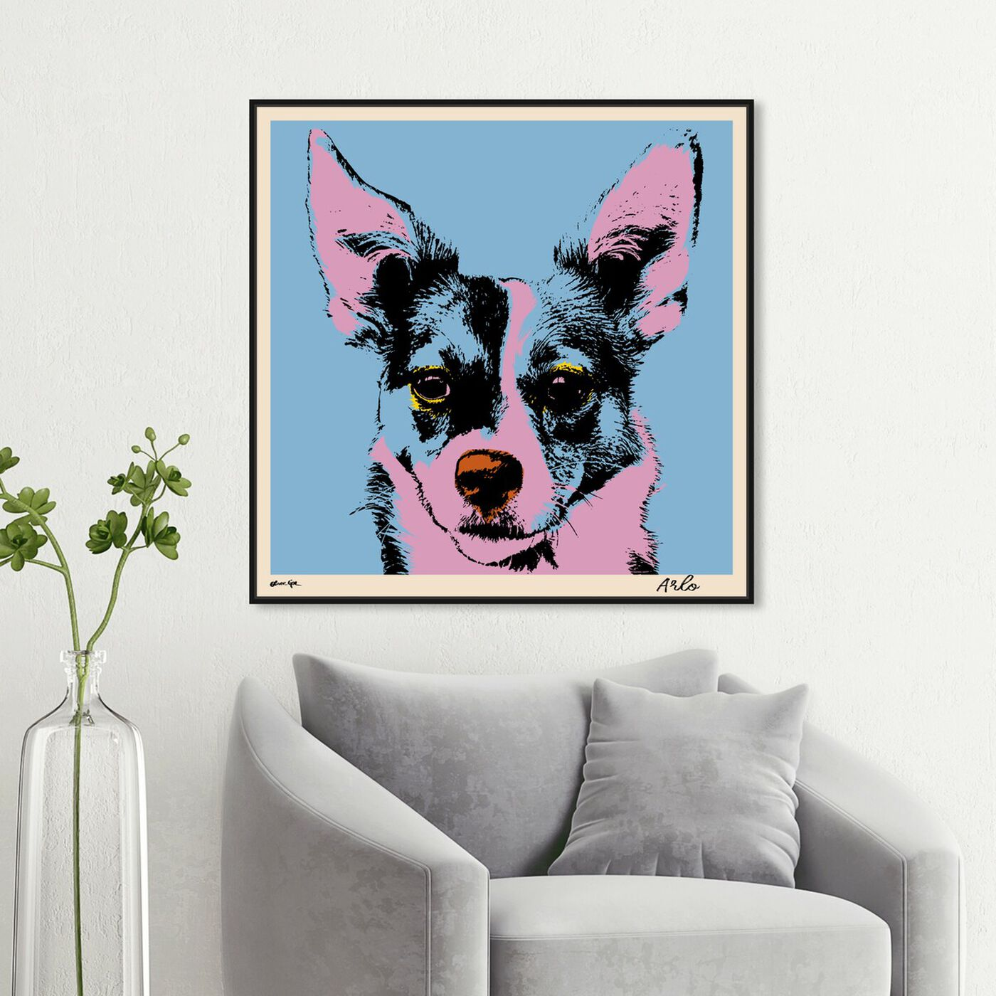 Hanging view of Pet Warhol featuring animals and dogs and puppies art.