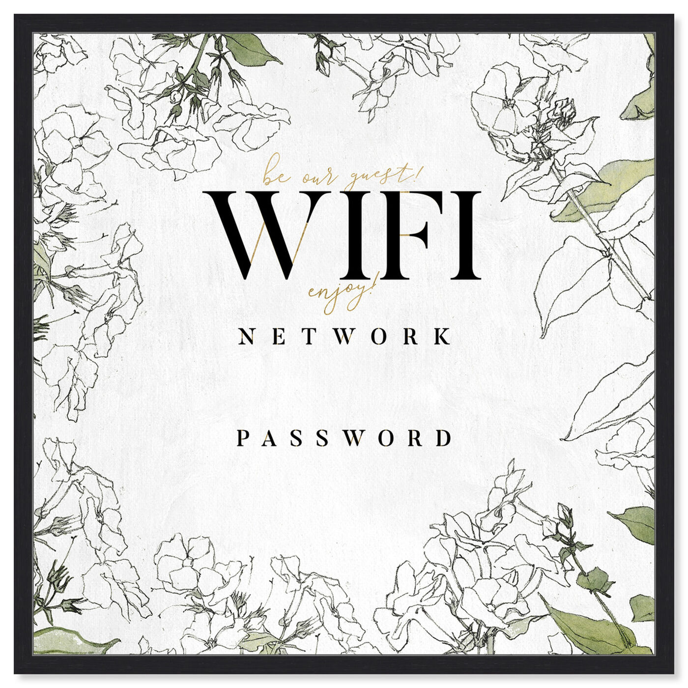 Front view of Wifi Password Floral Sketches art.