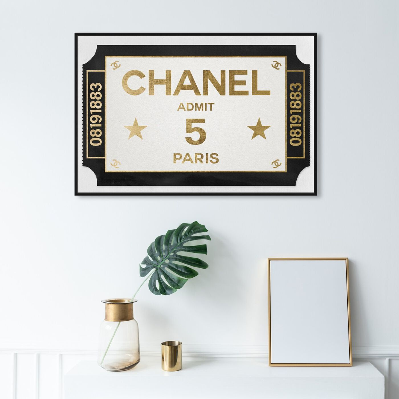 Hanging view of Ticket Admit One Paris featuring fashion and glam and road signs art.