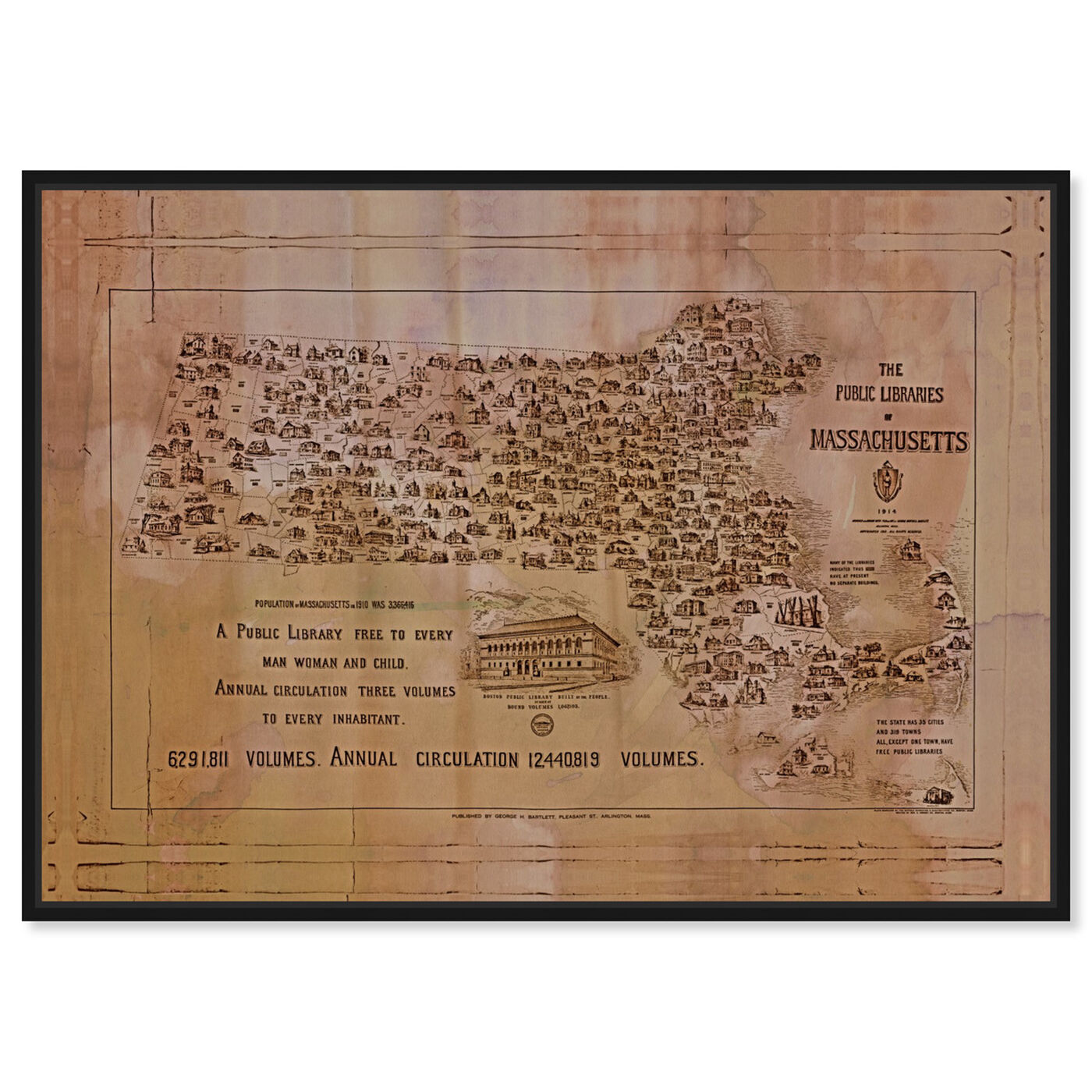 Front view of Public Libraries of Massachusetts Map featuring maps and flags and us states maps art.