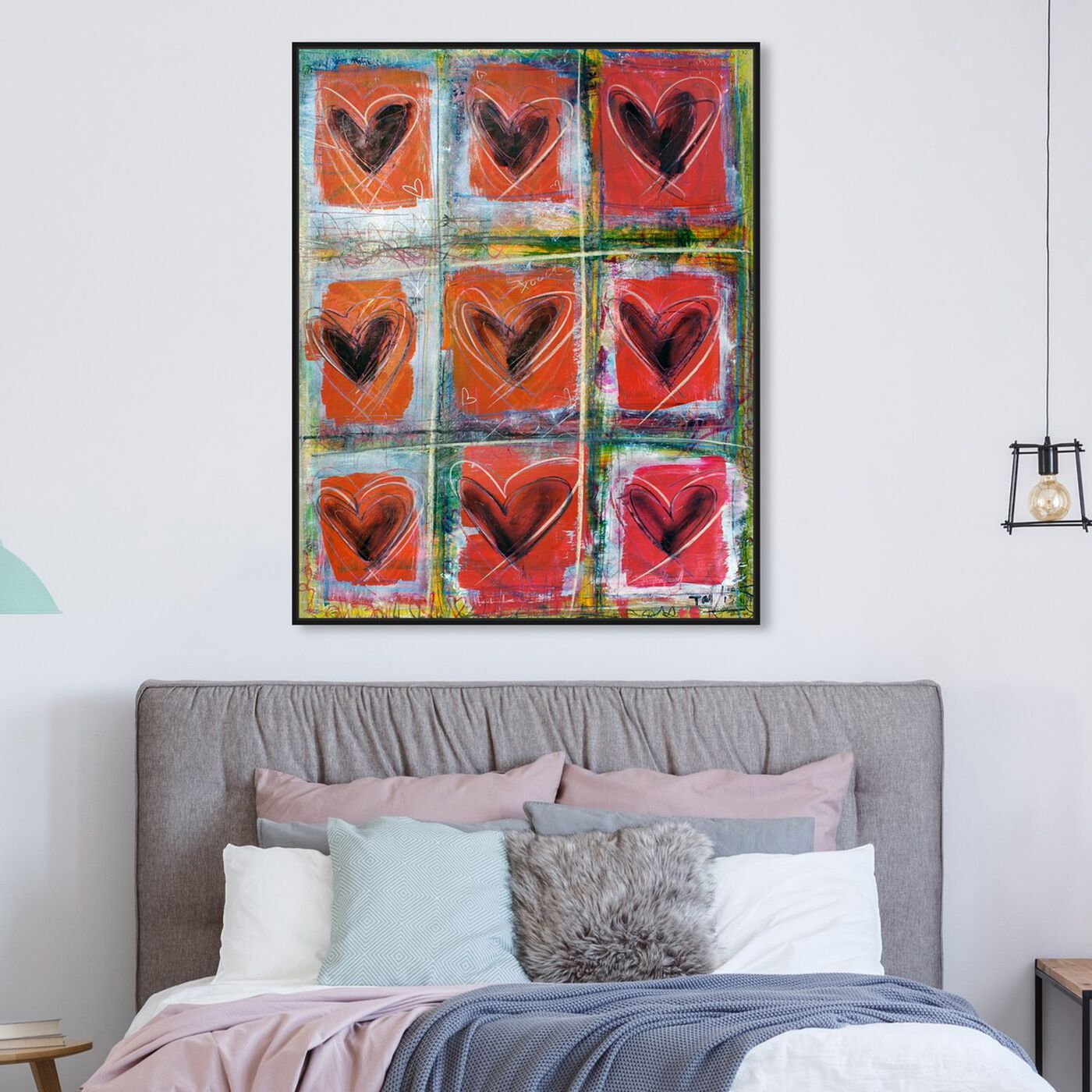 Hanging view of LoveRED by Tiago Magro featuring symbols and objects and shapes art.