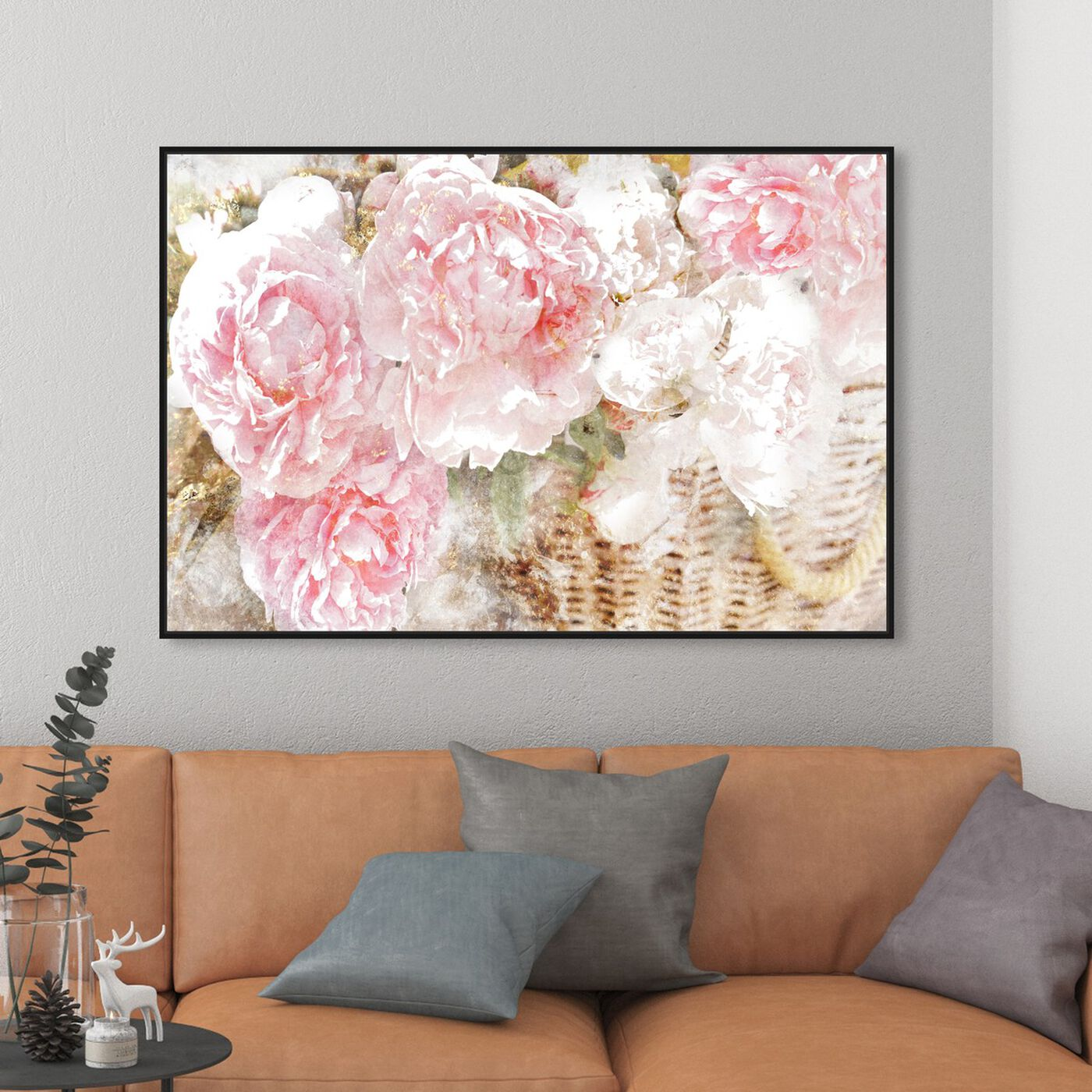 Hanging view of Basket O' Roses featuring floral and botanical and florals art.