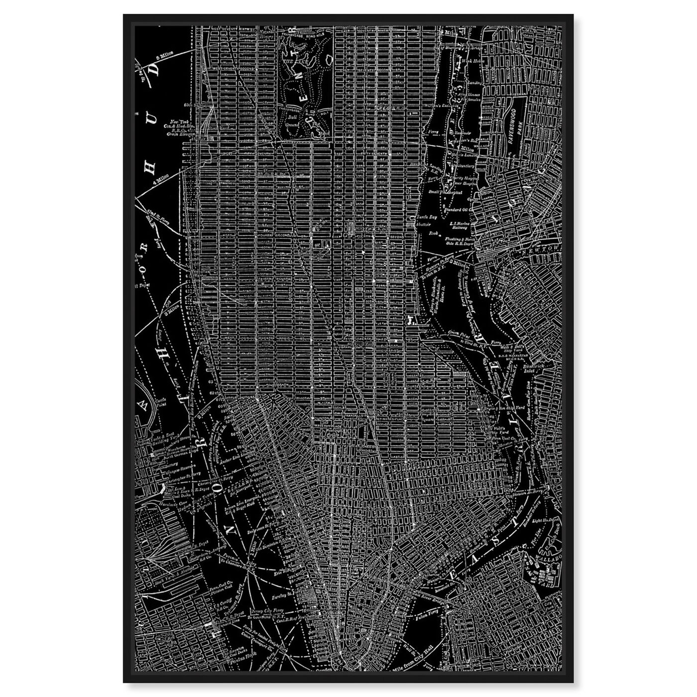 Front view of Phylum Design The City That Never Sleeps featuring maps and flags and us cities maps art.
