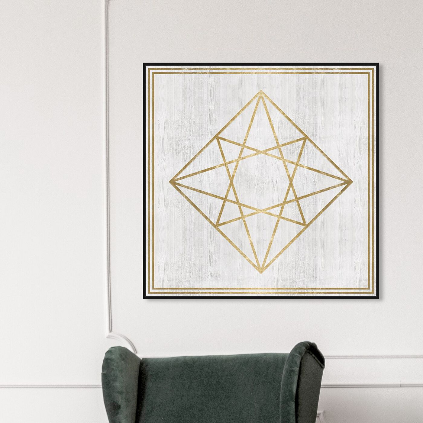 Hanging view of Whitewash Wood Geometric Diamond featuring abstract and geometric art.