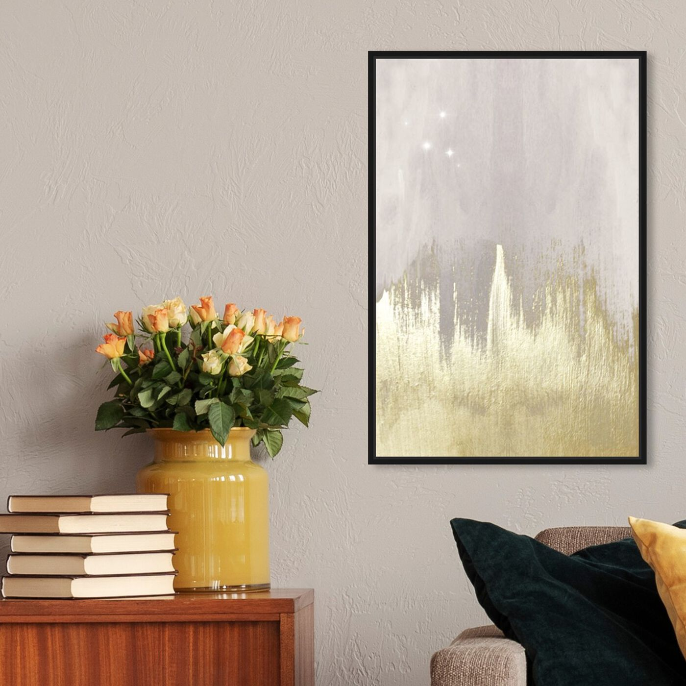 Hanging view of Offwhite Starry Night featuring abstract and paint art.