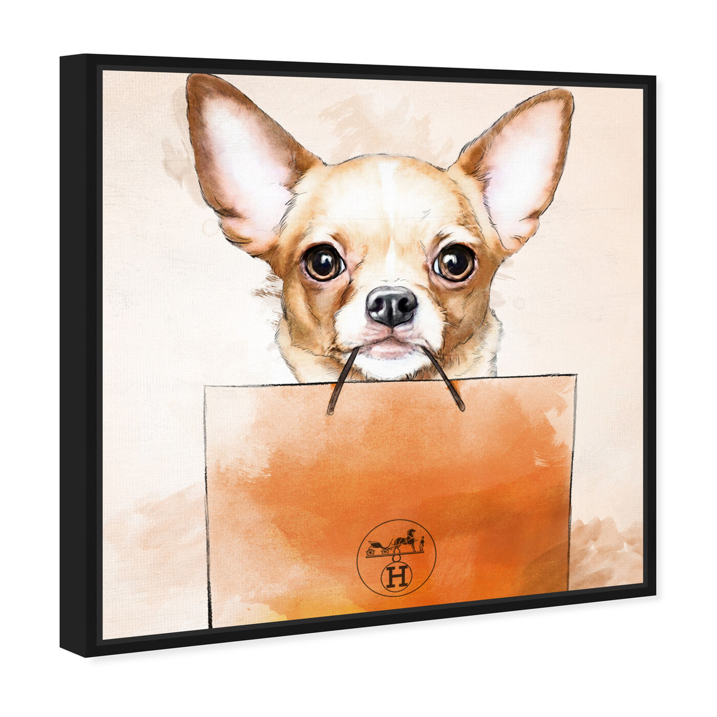 Angled view of Chihuahua Watercolor Bag featuring animals and dogs and puppies art.
