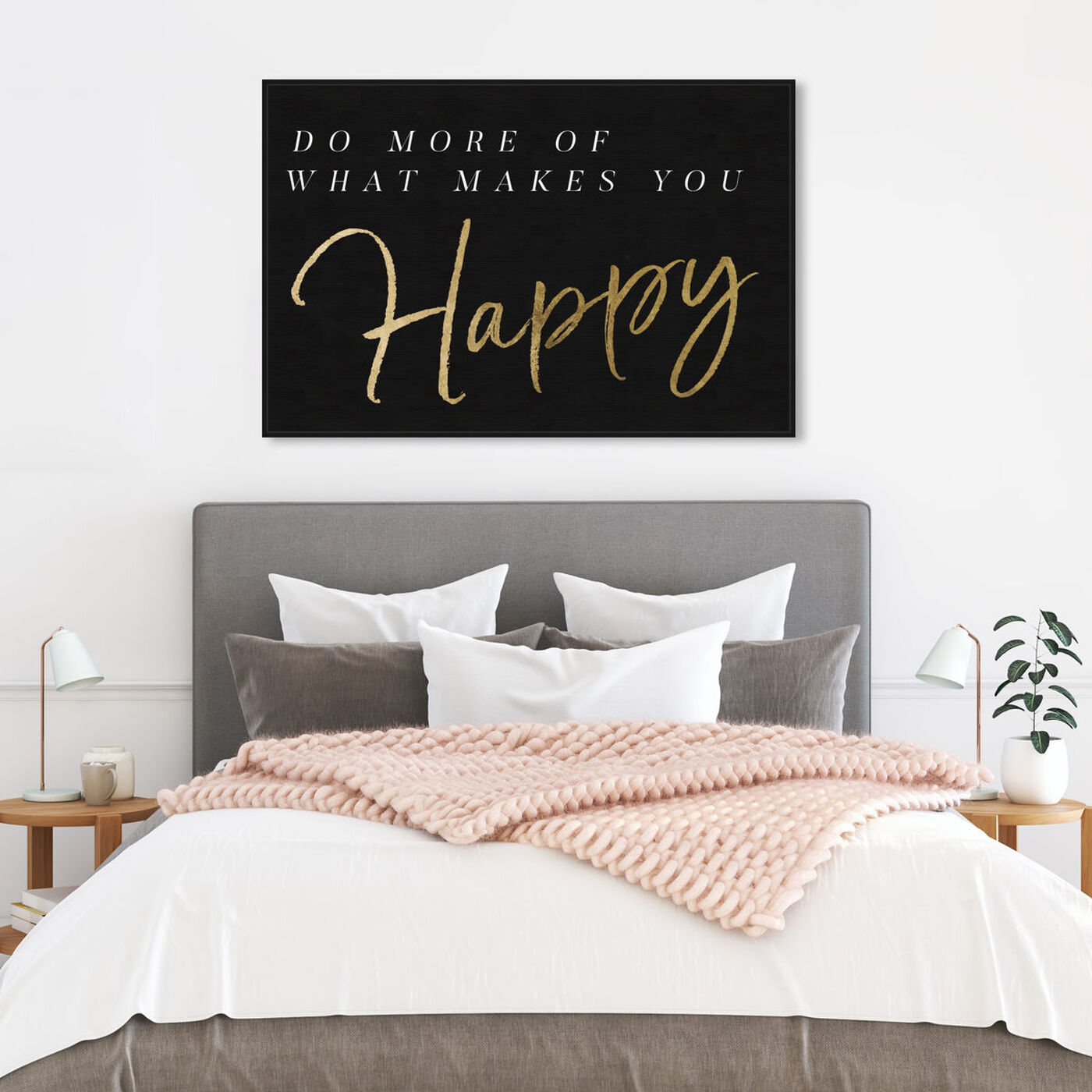 Hanging view of What Makes You Happy Gold and Gray featuring typography and quotes and motivational quotes and sayings art.