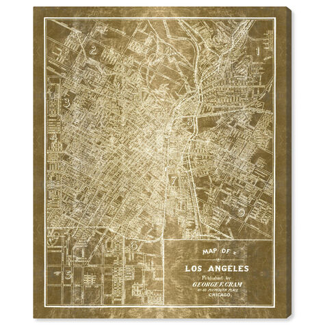 Los Angeles Map 1899 Grey Inverted