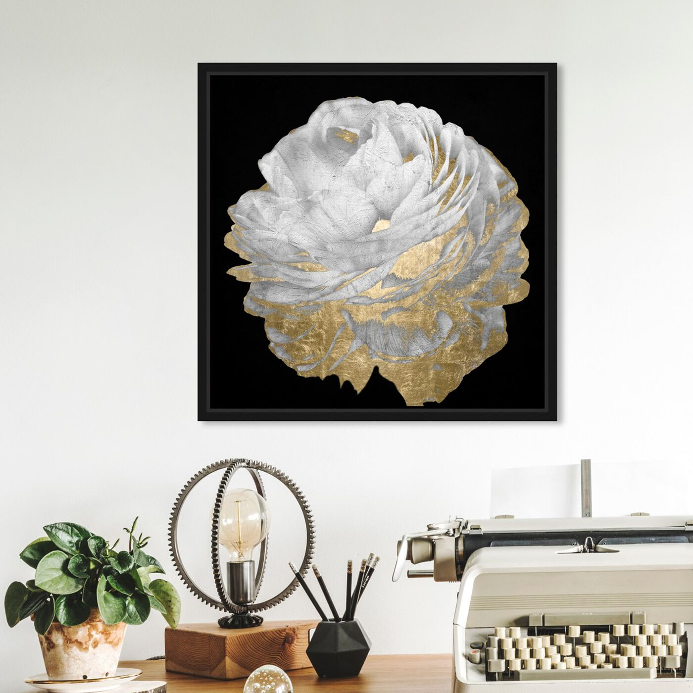 Hanging view of Gold and Light Floral featuring floral and botanical and florals art.