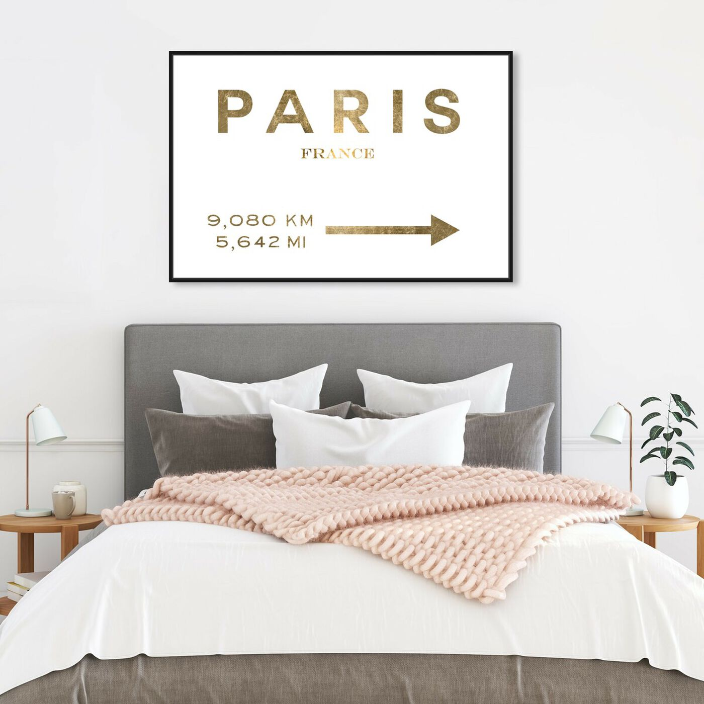 Hanging view of Paris Road Sign featuring fashion and glam and road signs art.