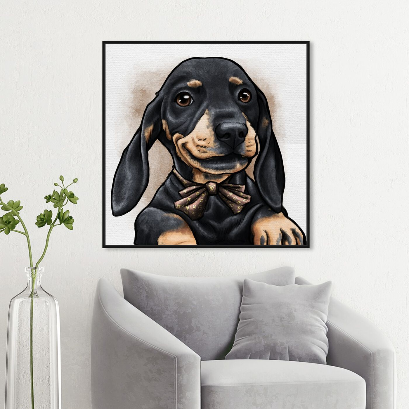 Hanging view of Dapper Dachshund featuring animals and dogs and puppies art.