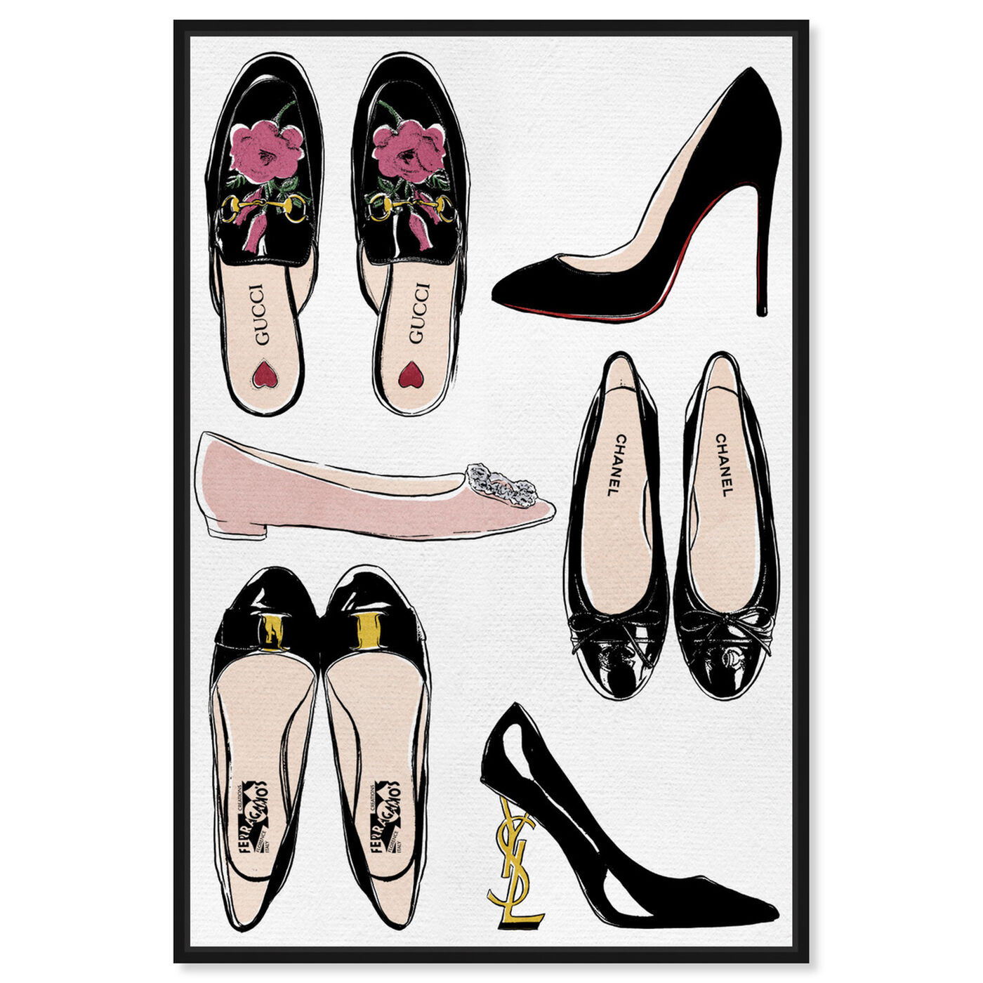Front view of My Luxe Shoe Collection featuring fashion and glam and shoes art.