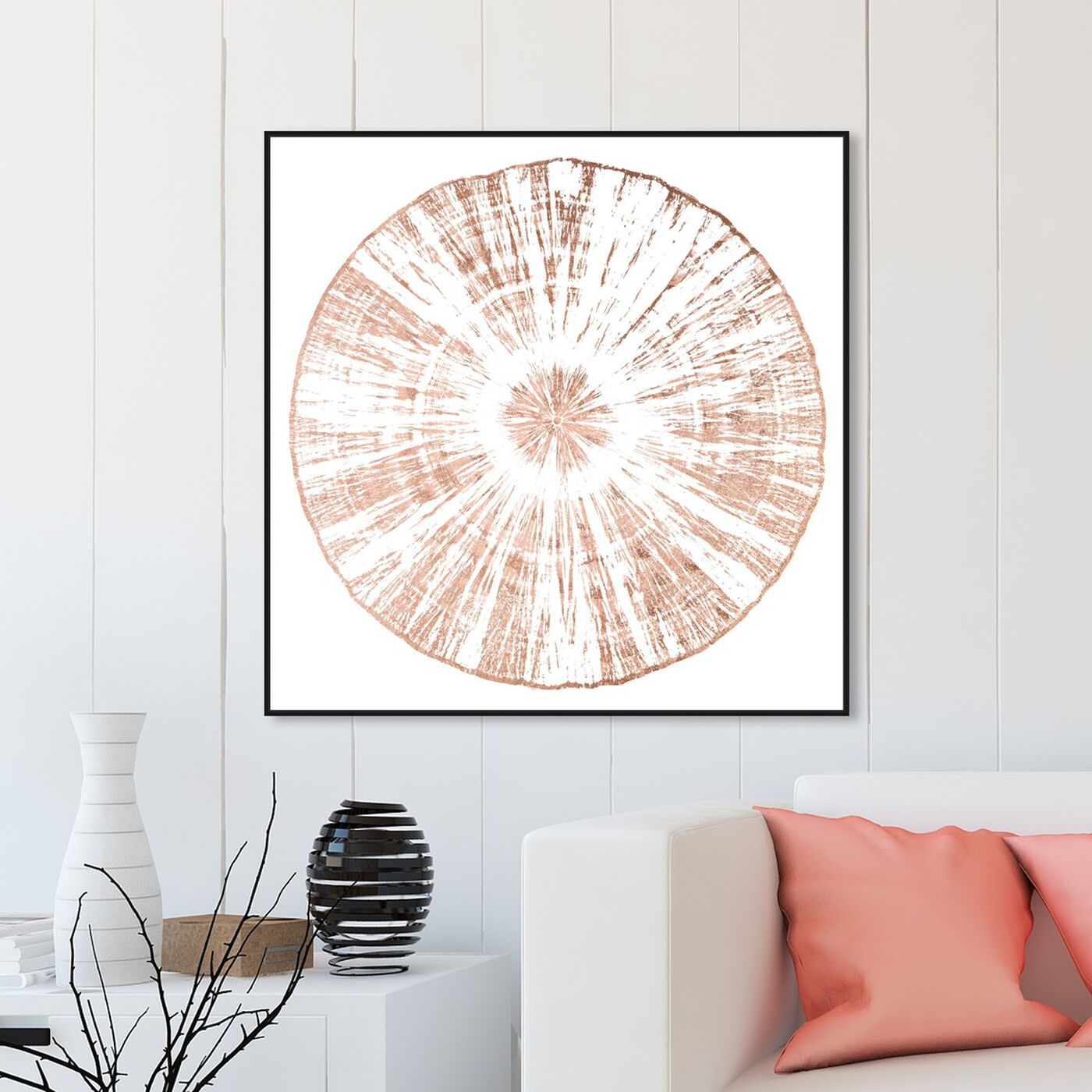 Hanging view of Cuore Legno Rose Gold featuring abstract and shapes art.