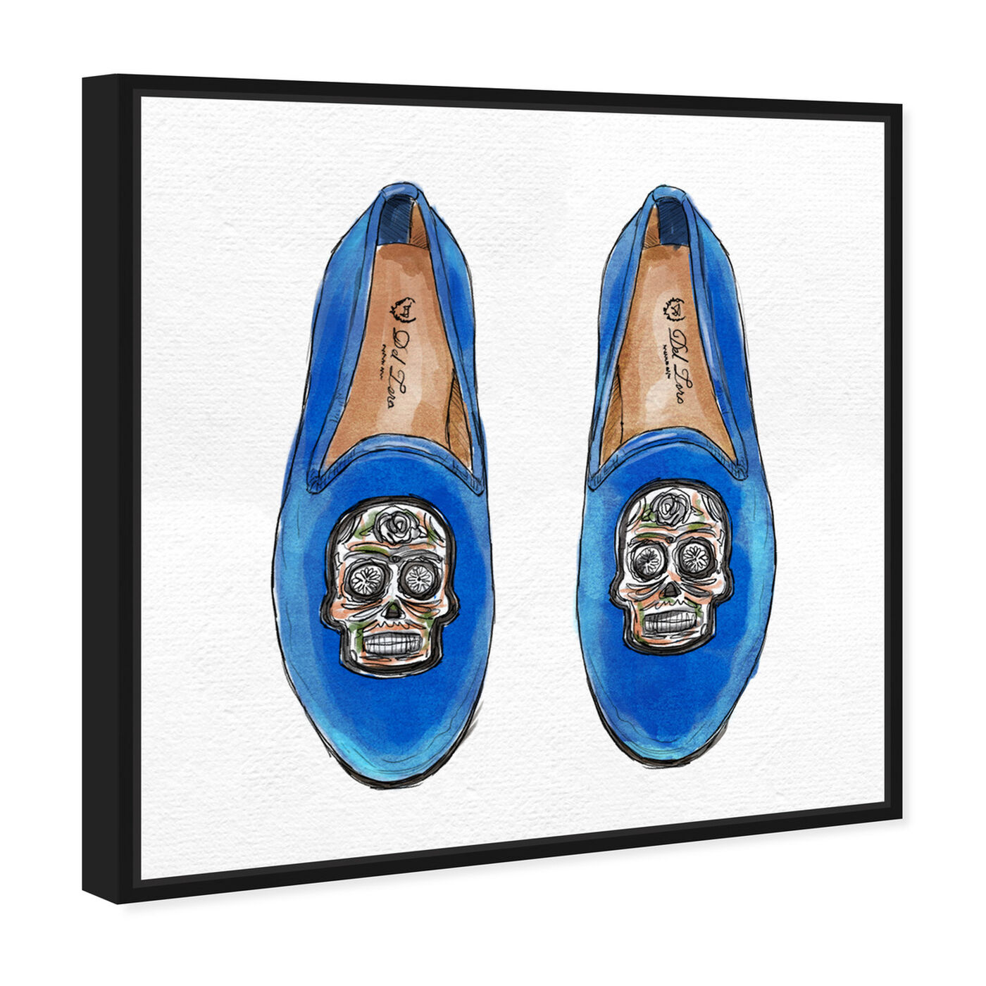 Angled view of Skull Slippers featuring fashion and glam and shoes art.