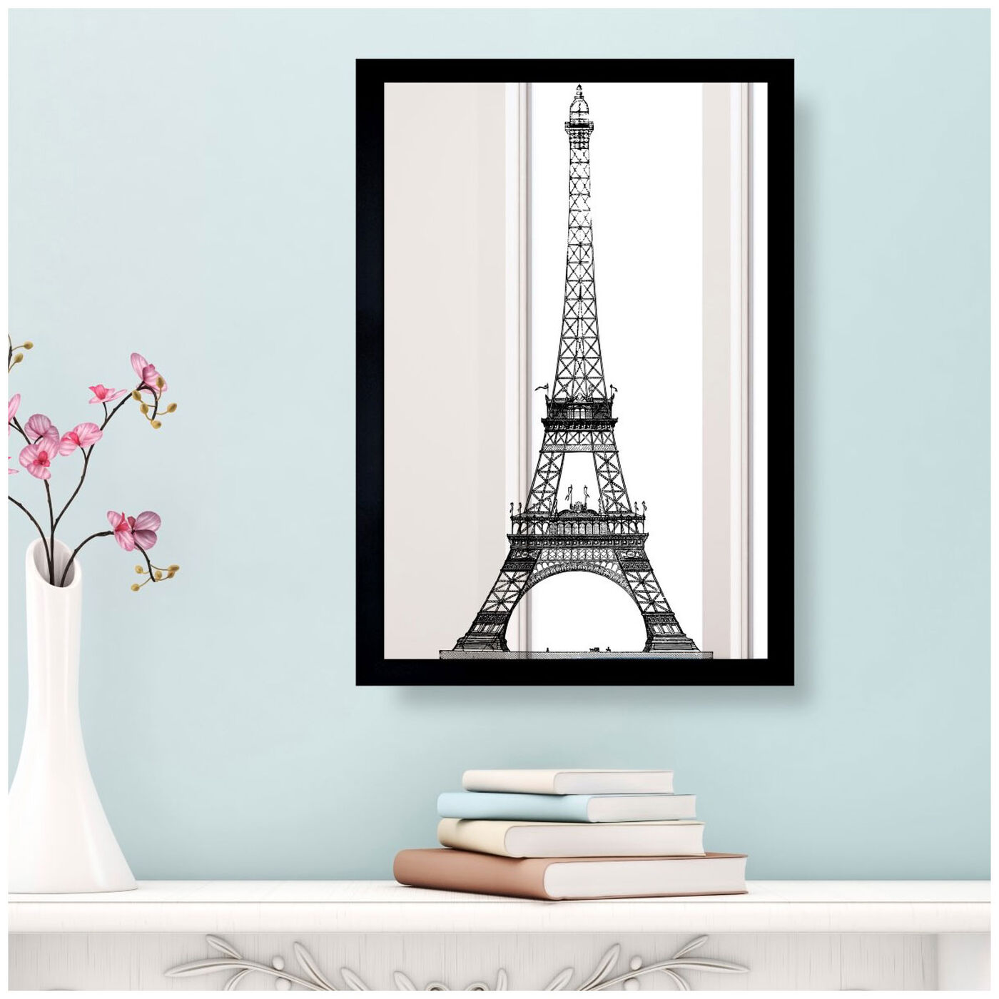 Hanging view of Moin Eiffel Gold featuring architecture and buildings and european buildings art.