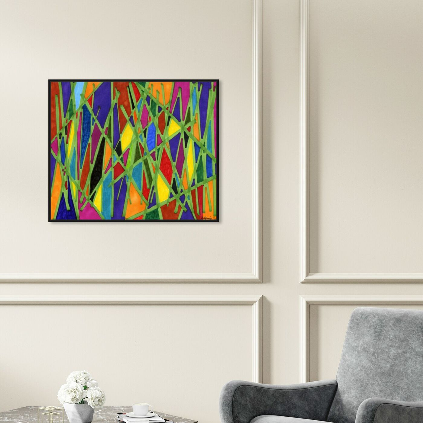 Hanging view of Bamboo Jungle featuring abstract and geometric art.