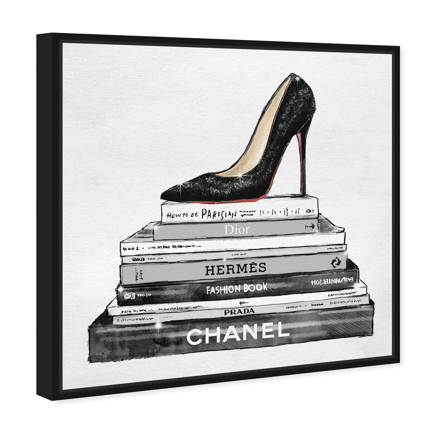 Angled view of Glam Shoe and Books featuring fashion and glam and shoes art.