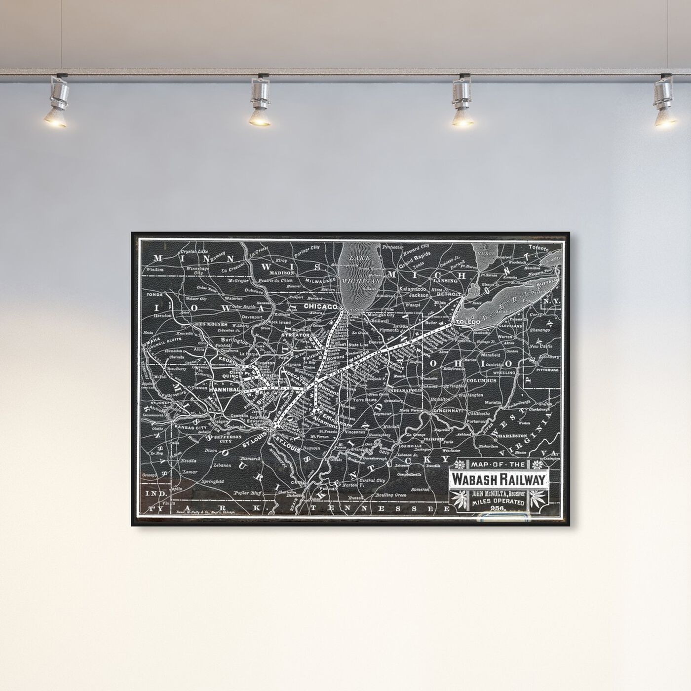 Hanging view of Wabash Railroad Map featuring maps and flags and us states maps art.