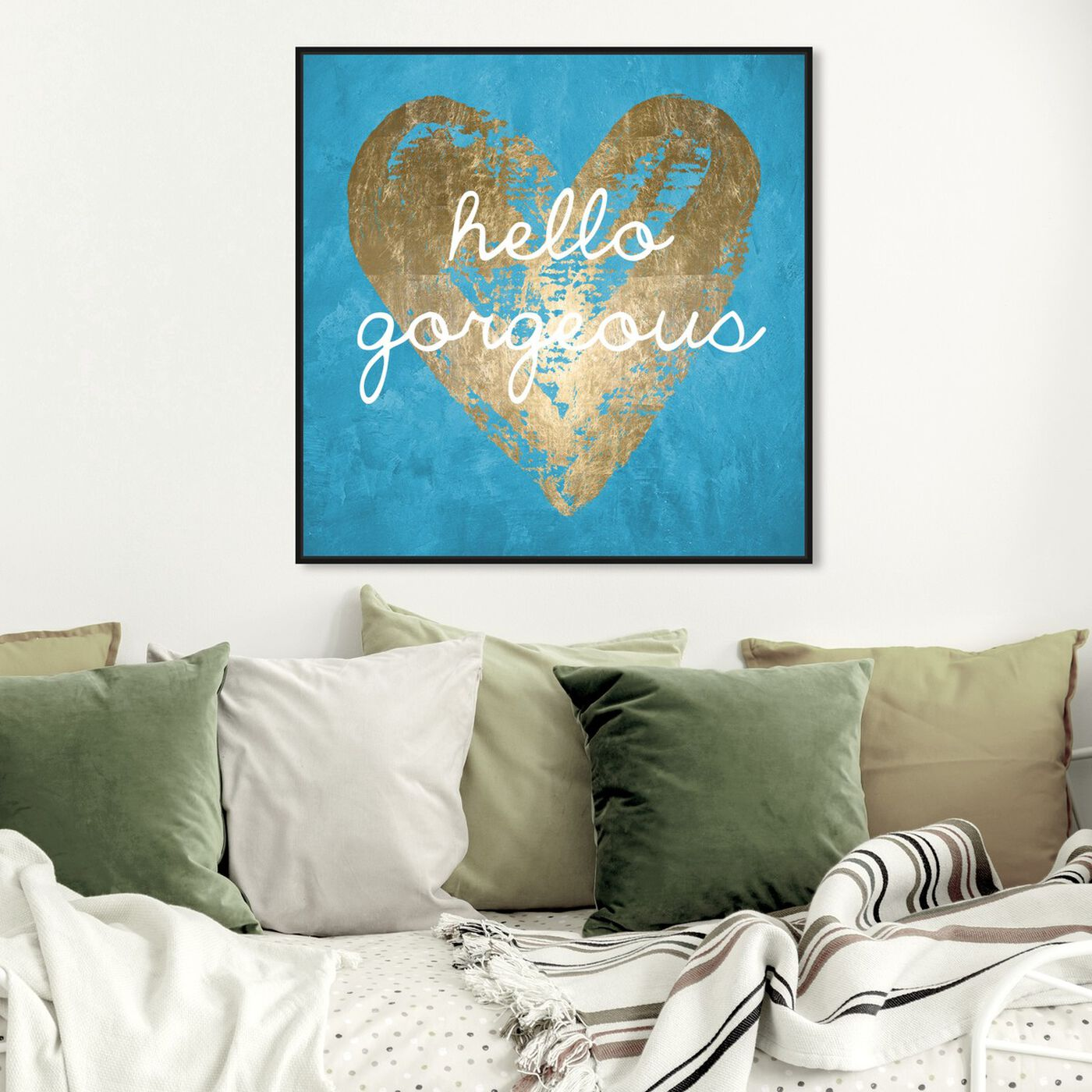 Hanging view of Gorgeous Salute Turquoise featuring fashion and glam and hearts art.