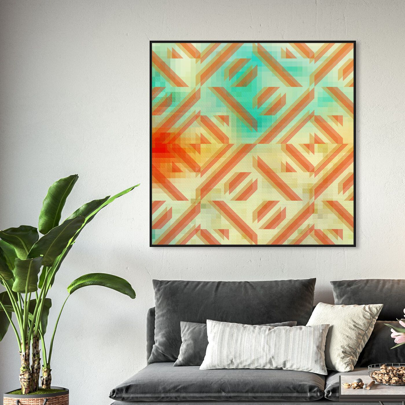 Hanging view of Gaze featuring abstract and geometric art.