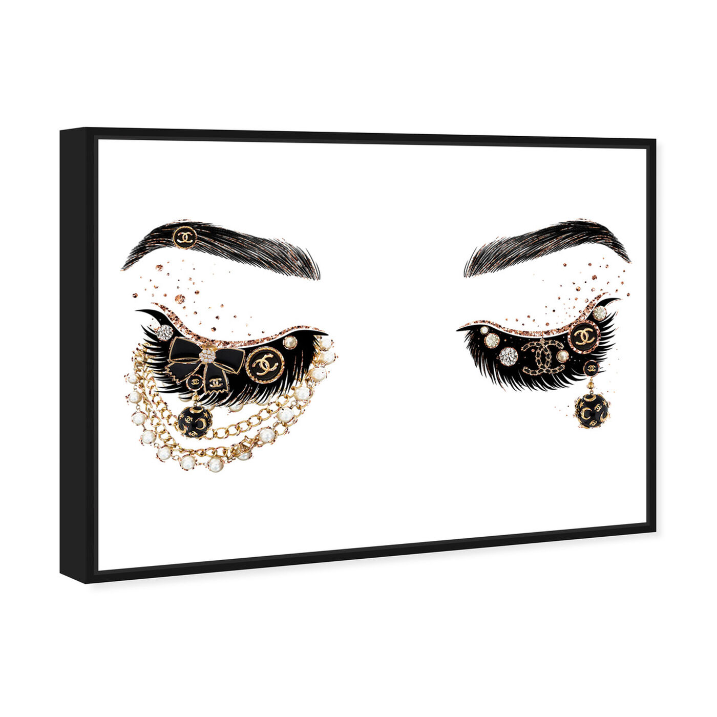 Angled view of Pearls and Coco Eyes featuring fashion and glam and makeup art.