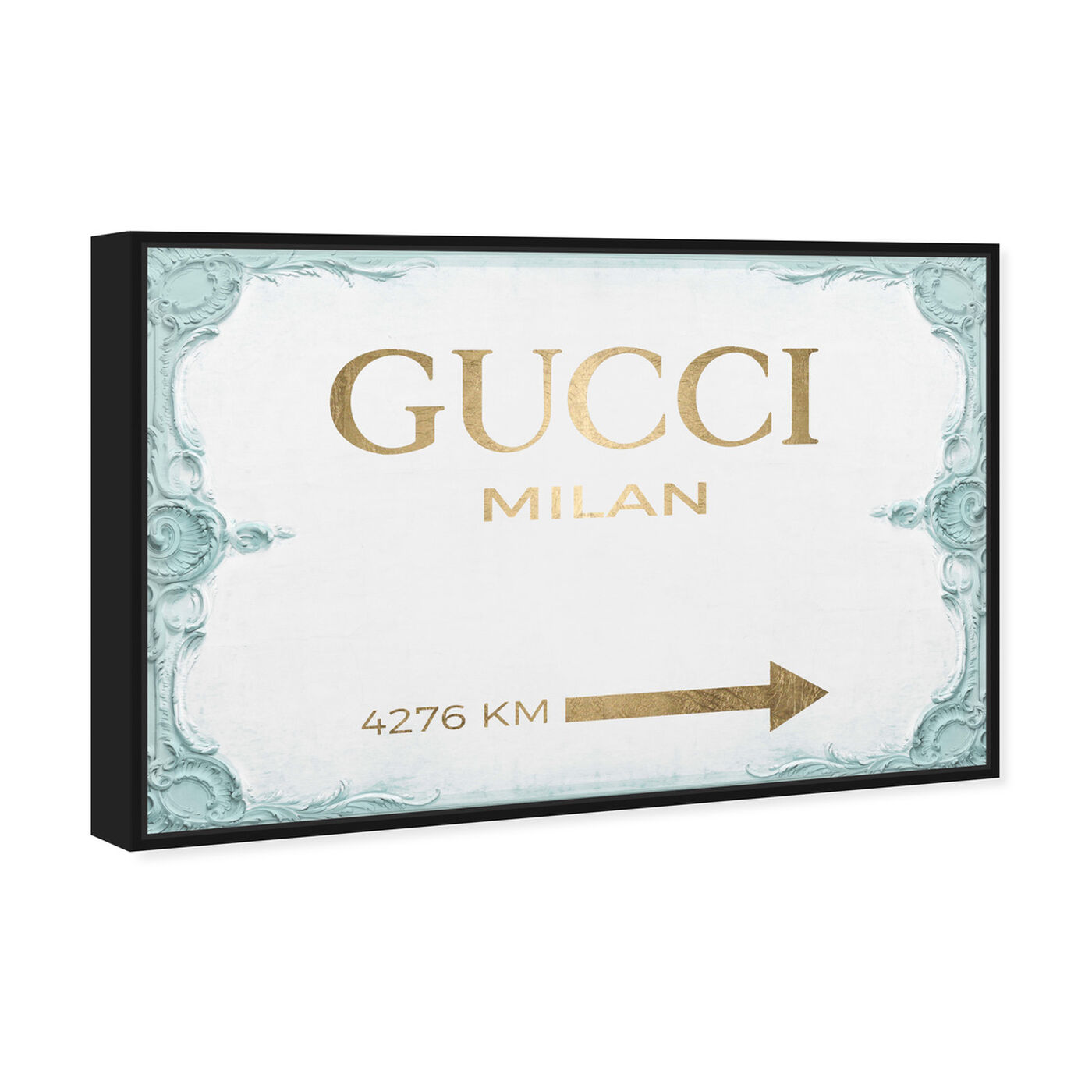 Angled view of Milan Sign Aqua featuring fashion and glam and road signs art.