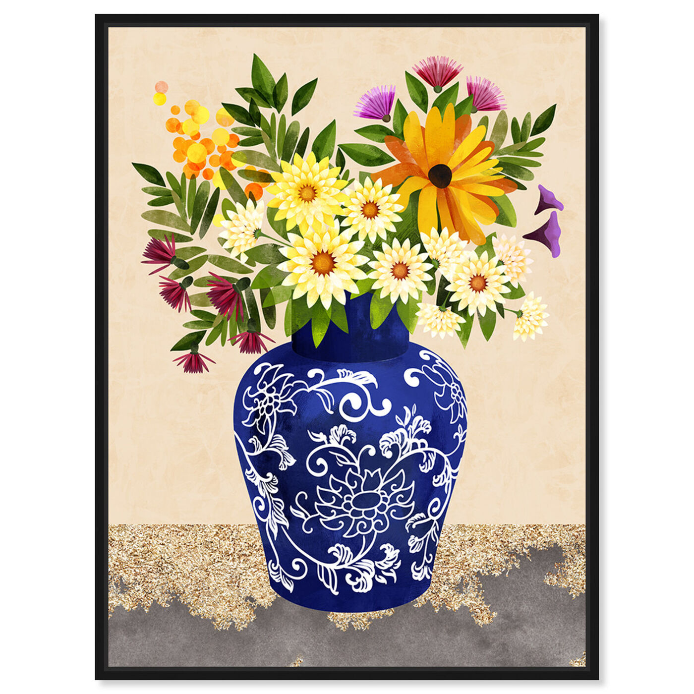 Front view of Flor Porcelain II featuring floral and botanical and florals art.