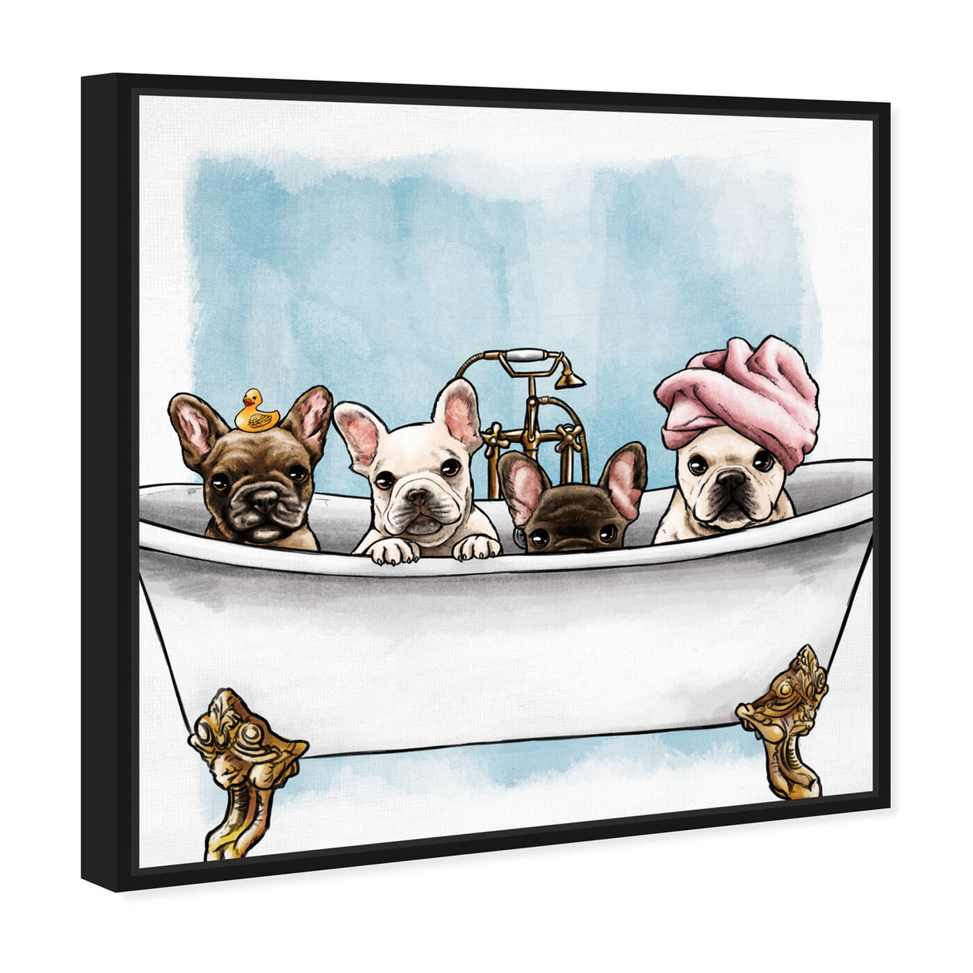Angled view of Frenchies In The Tub featuring animals and dogs and puppies art.