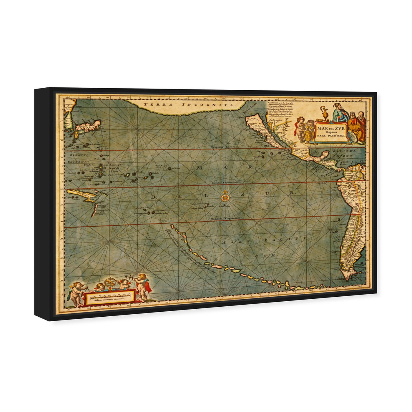 Angled view of Mare Pacificum Map 1600s featuring maps and flags and nautical maps art.