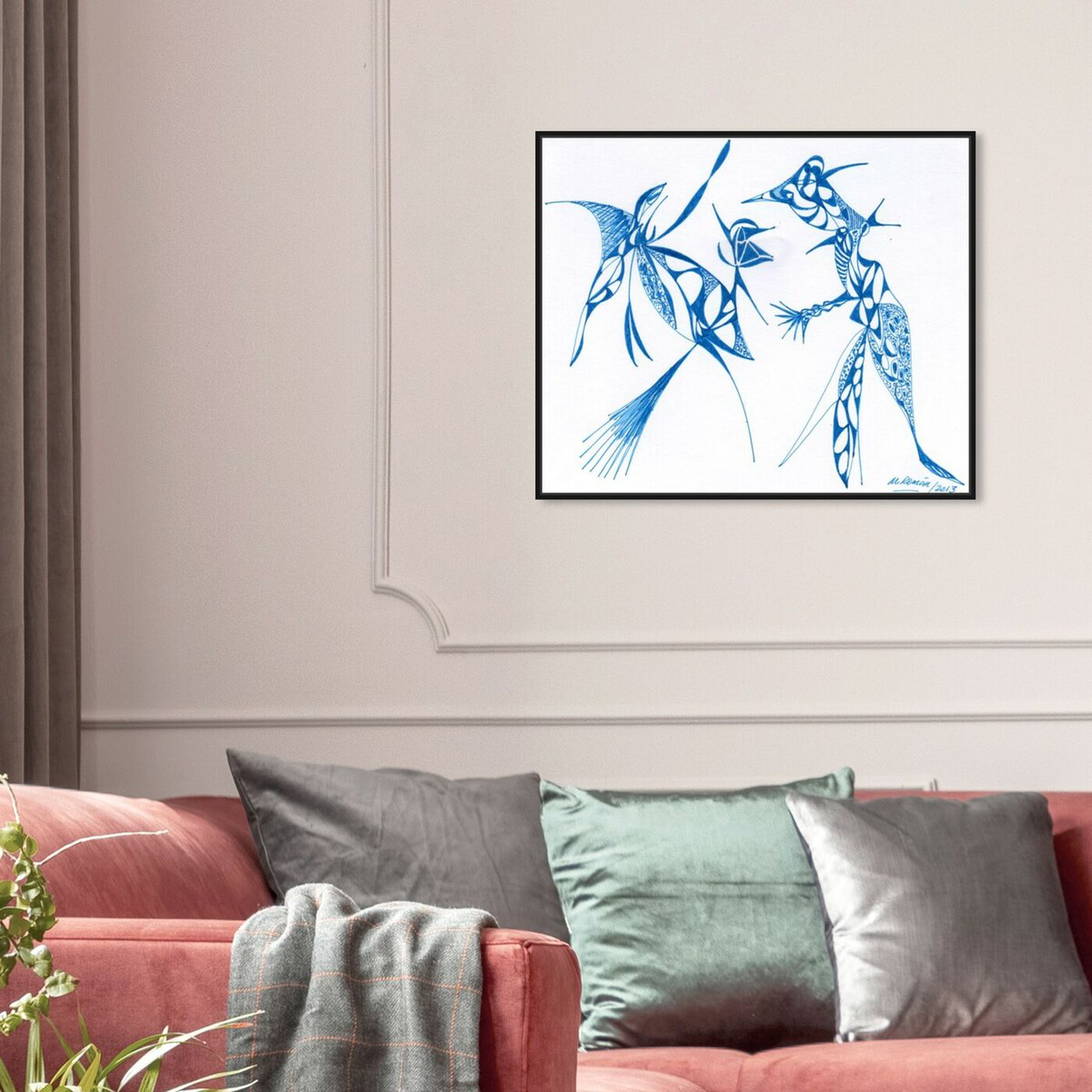 Hanging view of Dueling Herons featuring abstract and shapes art.