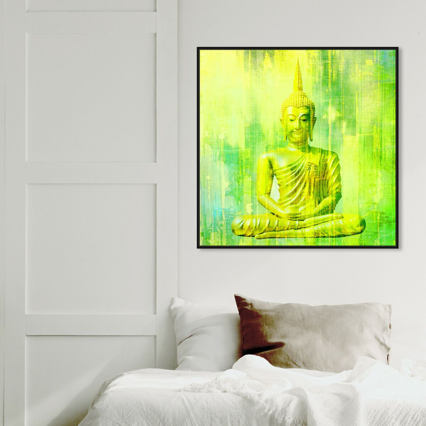 Hanging view of Buddha Neon Lime featuring spiritual and religious and religion art.