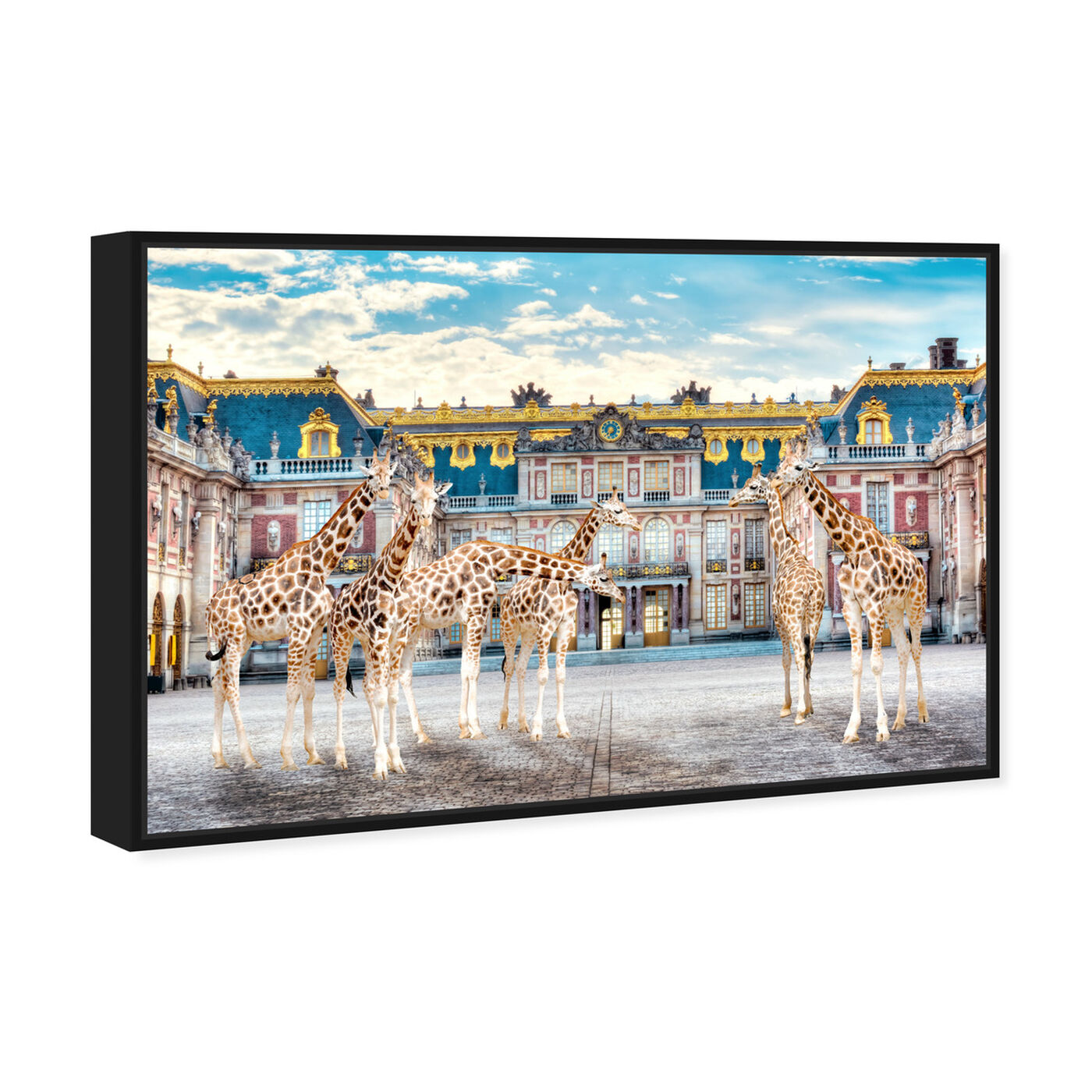Angled view of Giraffe Palace Assembly featuring animals and zoo and wild animals art.