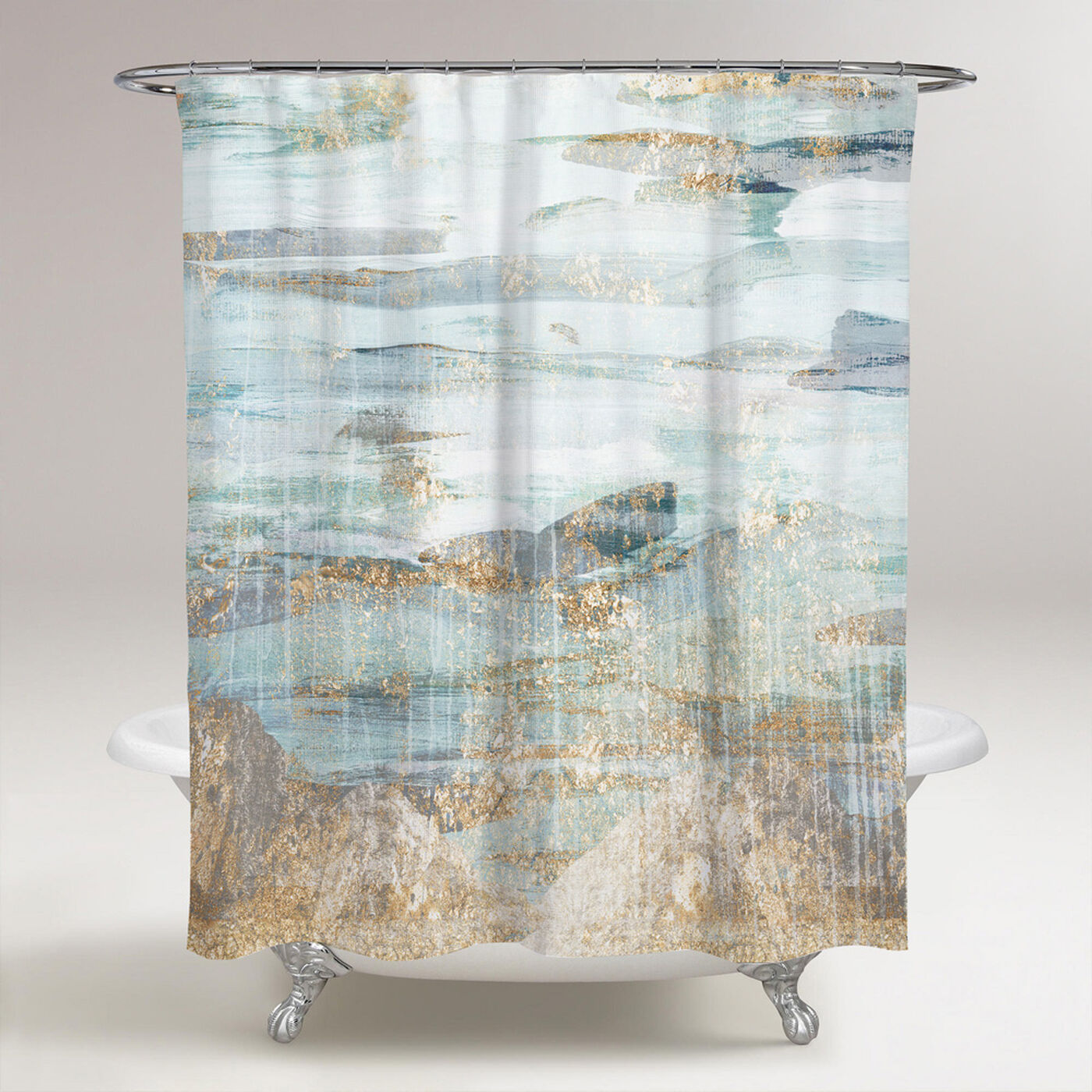 Love in Teal Shower Curtain