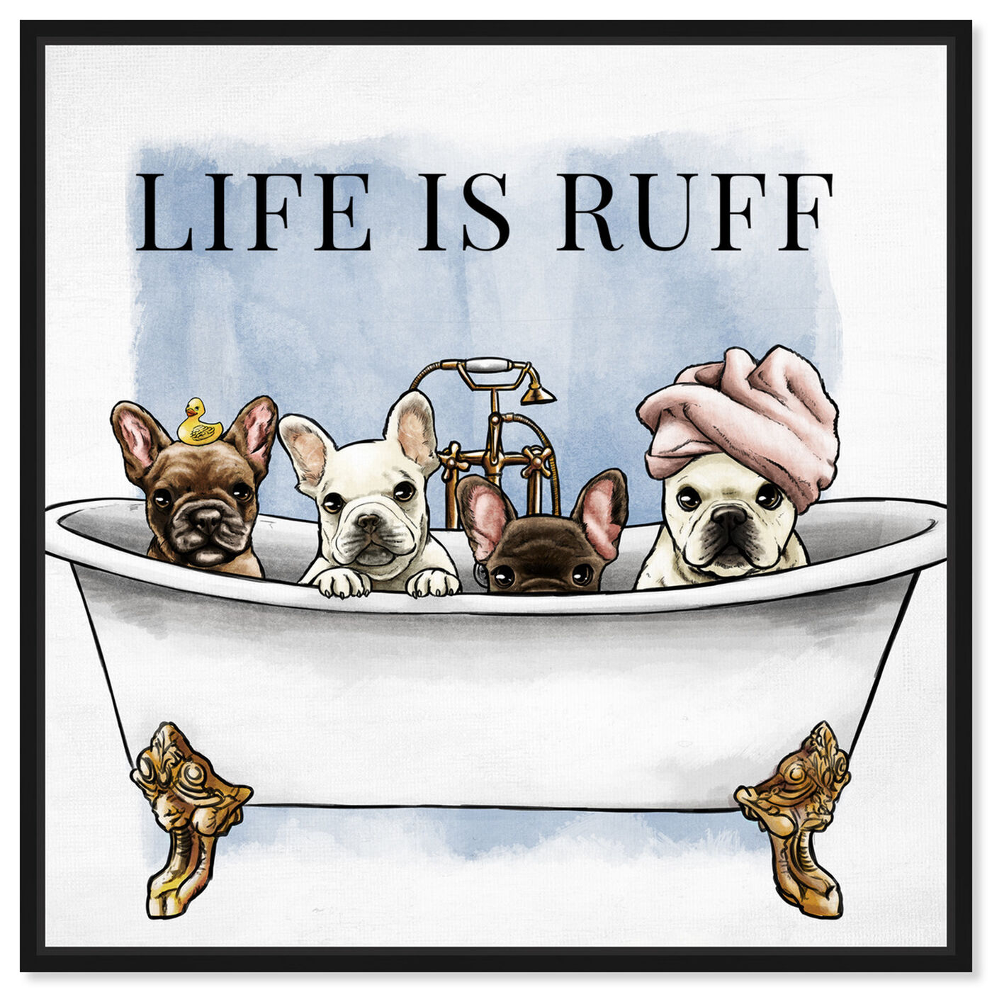 Front view of Life is Ruff featuring bath and laundry and bathtubs art.