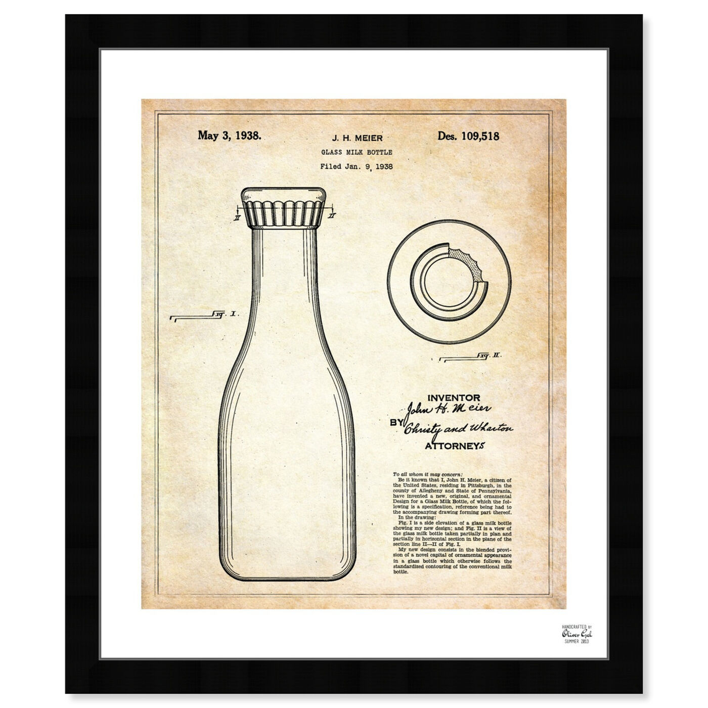 Front view of Milk Bottle 1938 featuring food and cuisine and baking essentials art.