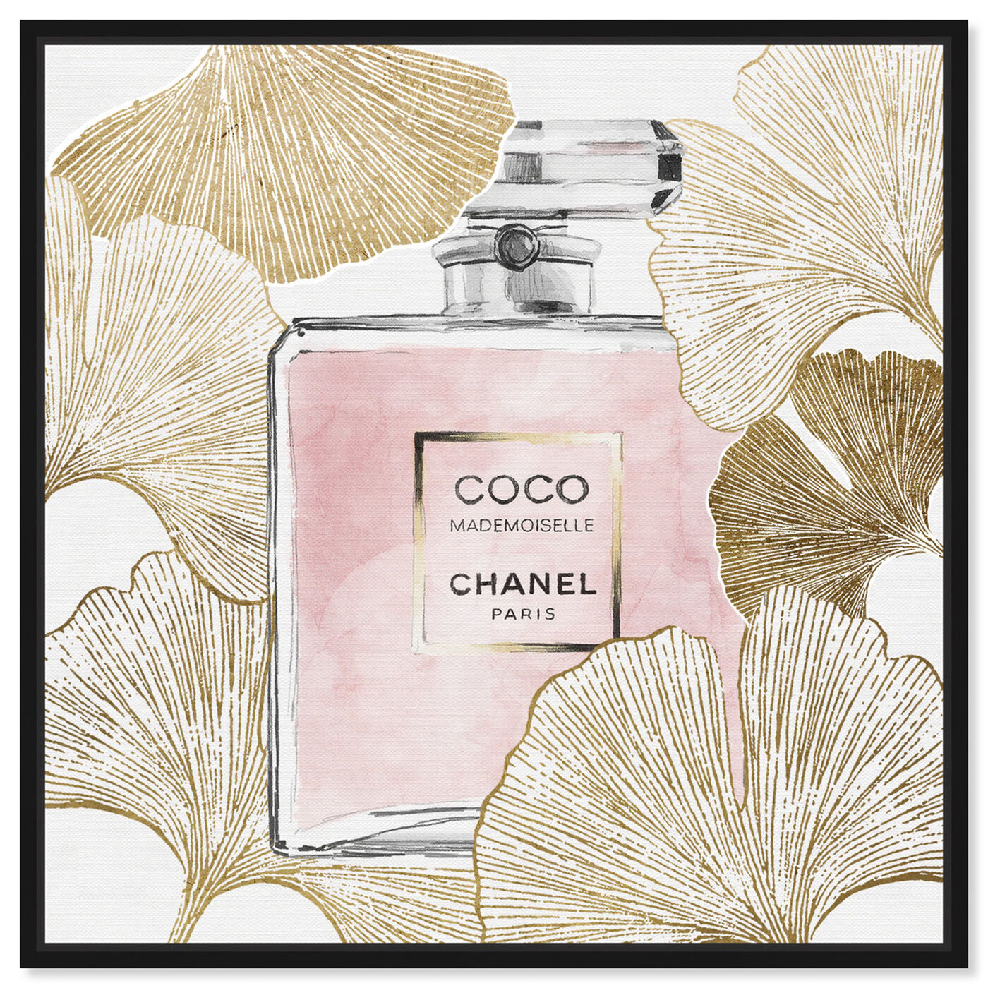 Front view of Gold Pink Ginkcoco featuring fashion and glam and perfumes art.