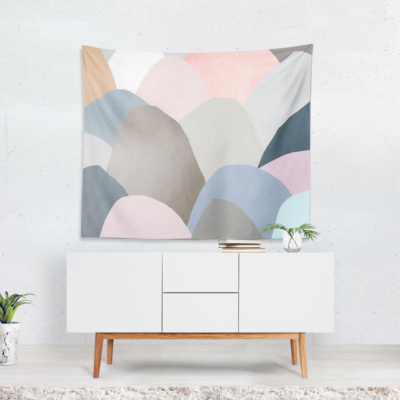 Minimal Mountains Tapestry Art