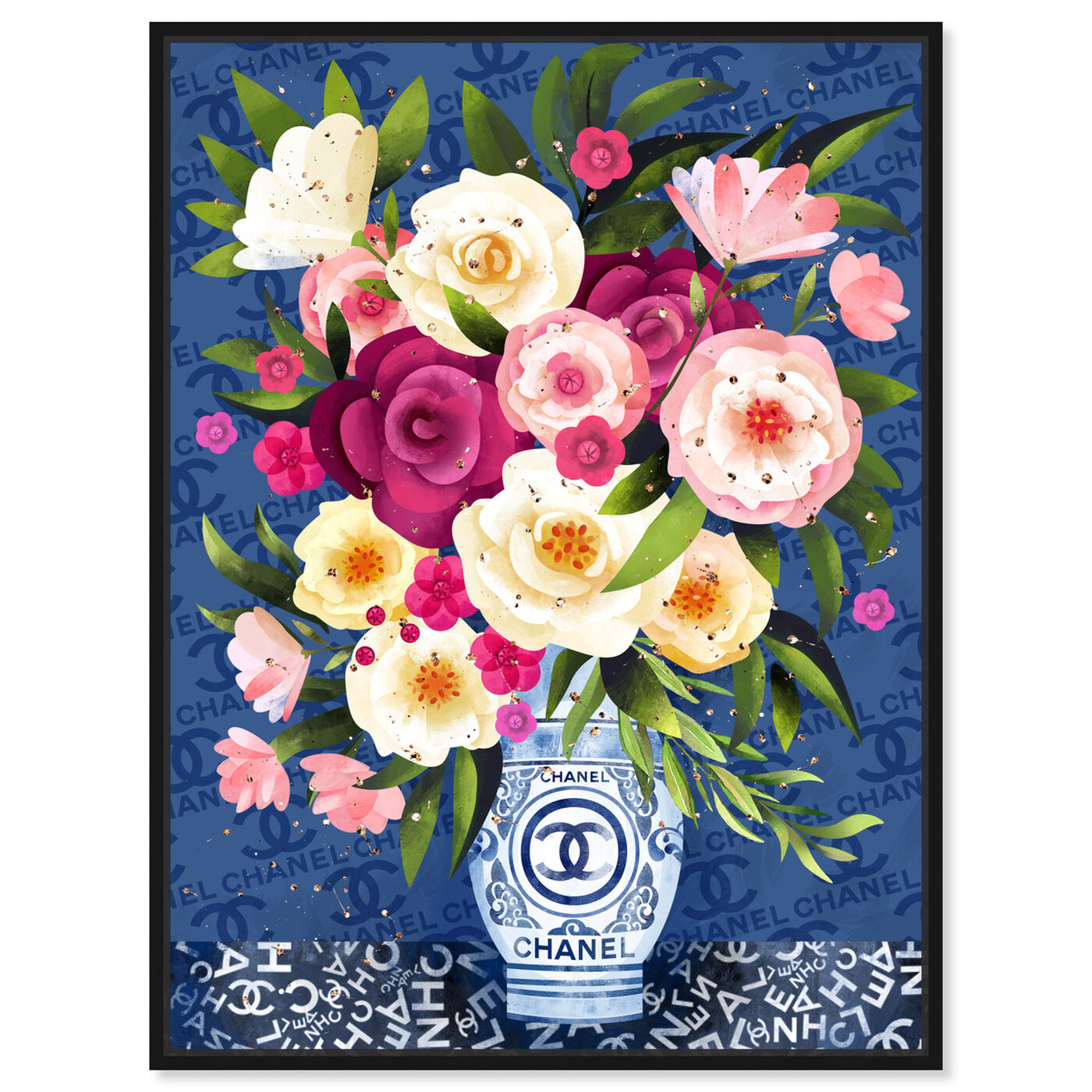 Front view of Coco Blues Bouquet featuring floral and botanical and florals art.