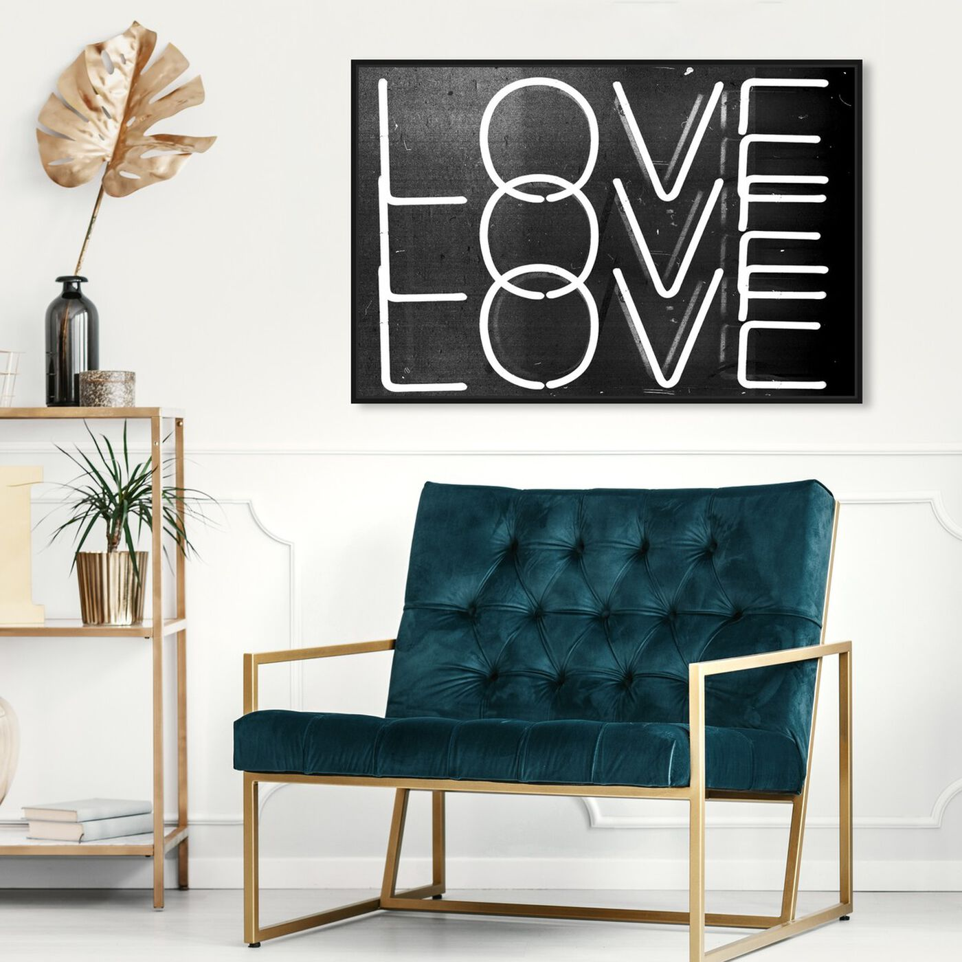 Hanging view of Love Neon Nights featuring typography and quotes and love quotes and sayings art.