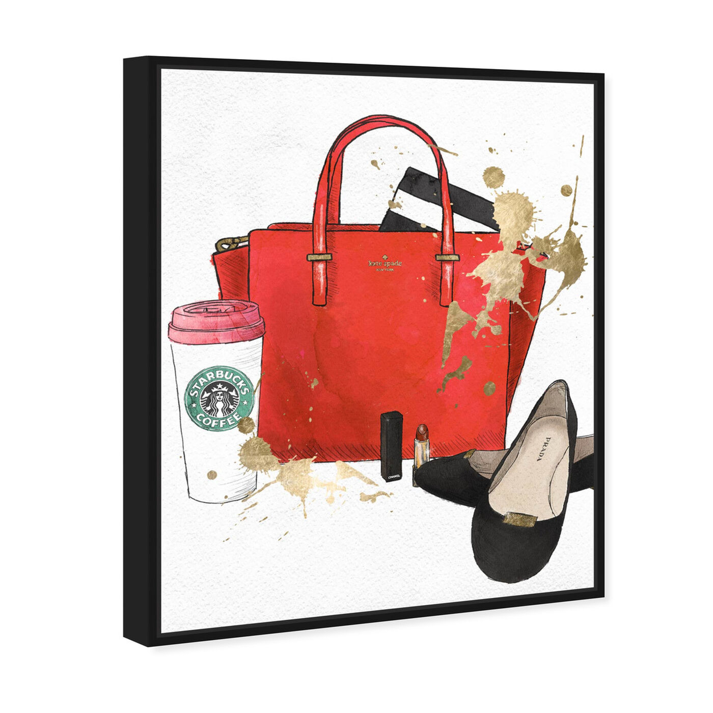 Angled view of Bags, Shoes and Coffee Red featuring fashion and glam and essentials art.