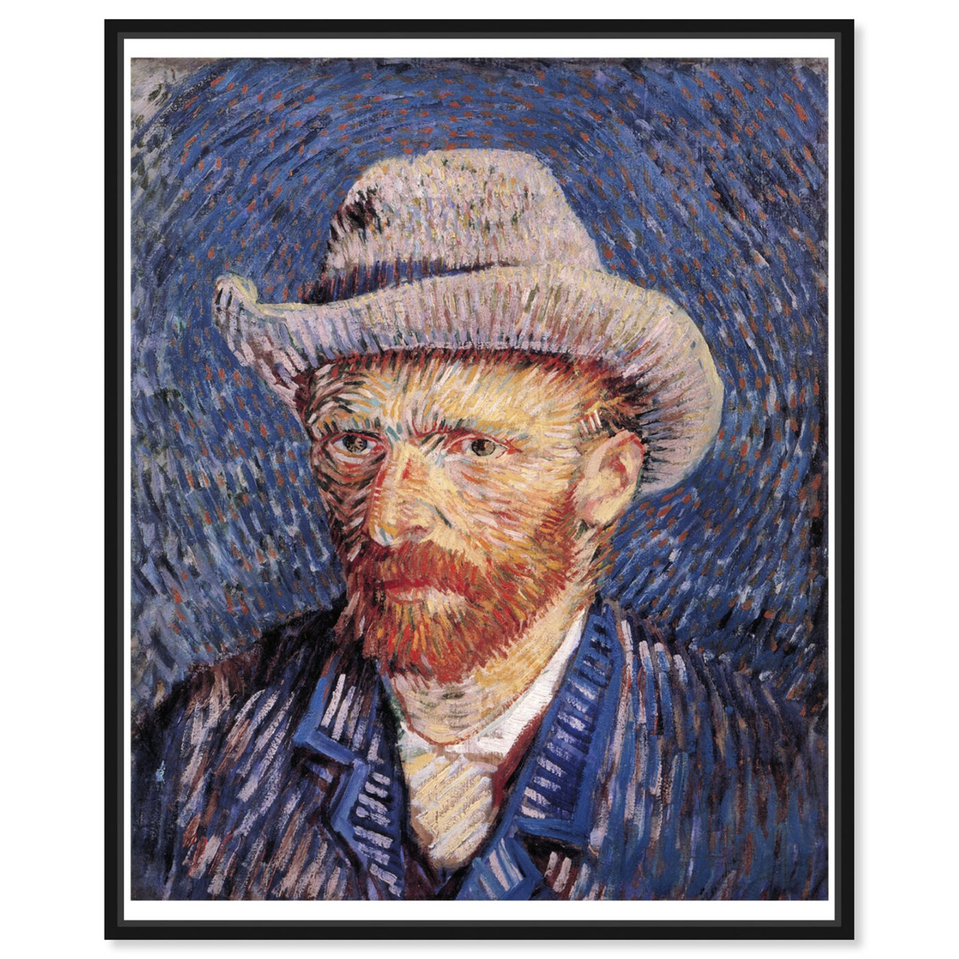 Front view of Van Gogh - Self Portrait with Felt featuring classic and figurative and impressionism art.