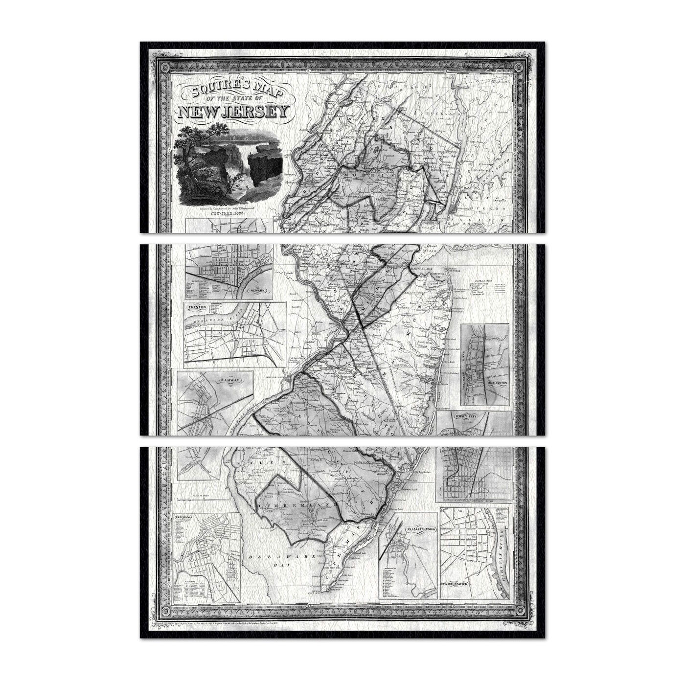 Squire's Map of New Jersey 1836 Triptych