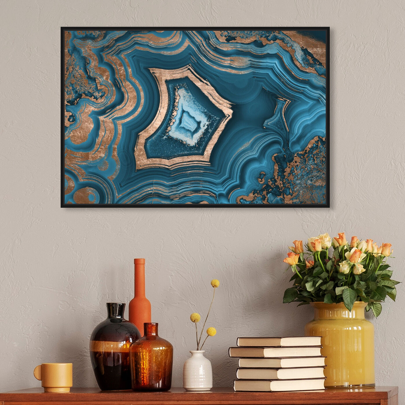 Hanging view of Dreaming About You Geode featuring abstract and crystals art.